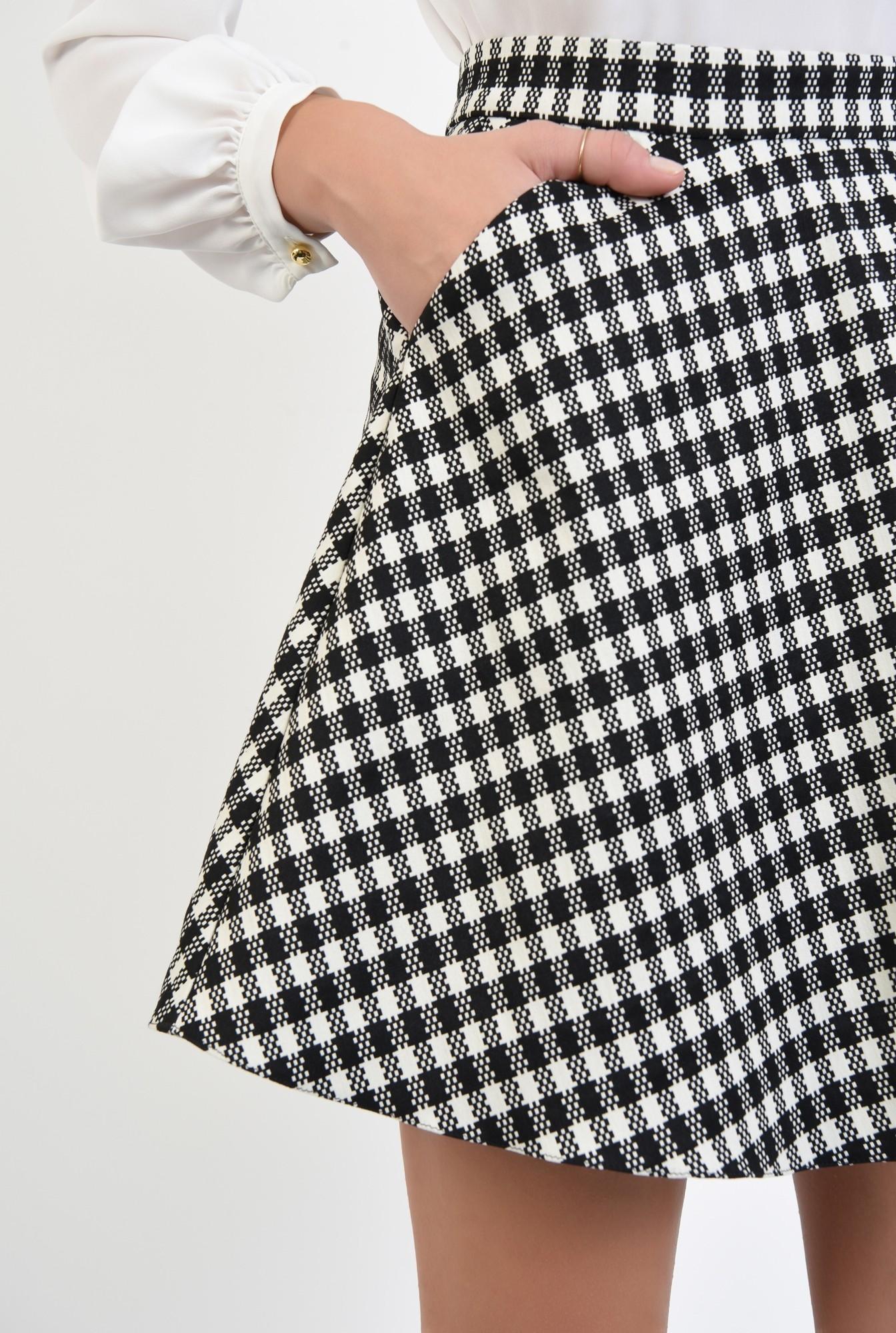3 - fusta casual, bie, alb-negru, carouri, imprimeu