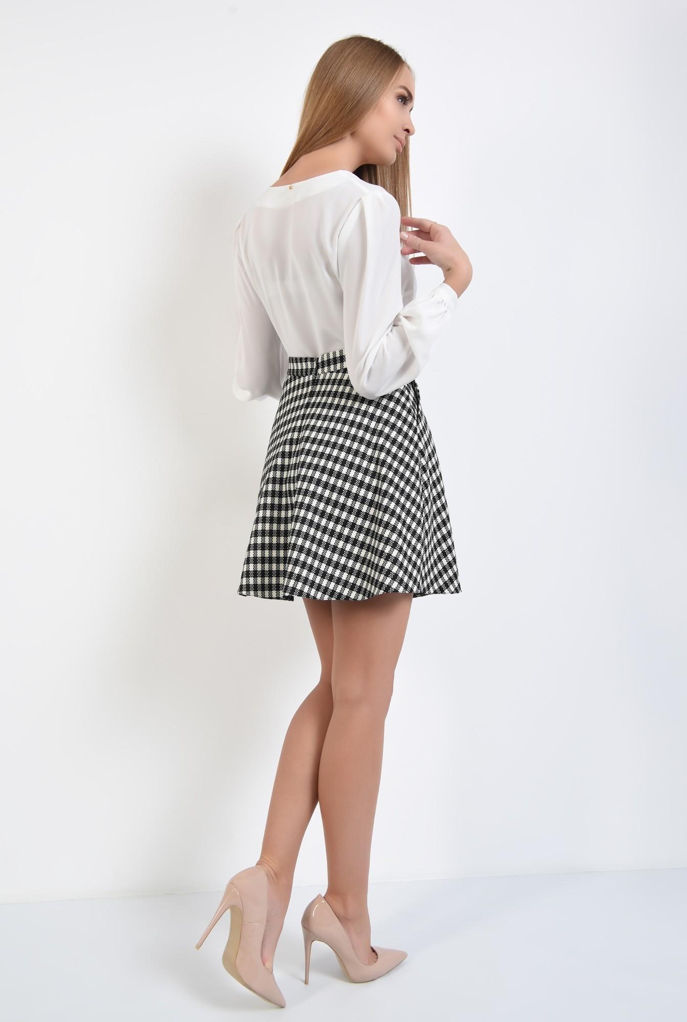 1 - fusta casual, bie, alb-negru, carouri, imprimeu