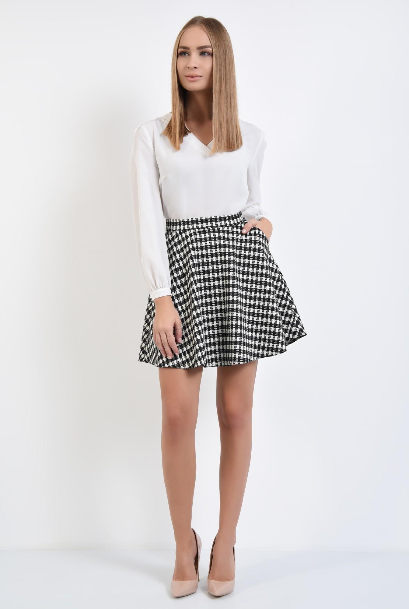 2 - fusta casual, bie, alb-negru, carouri, imprimeu