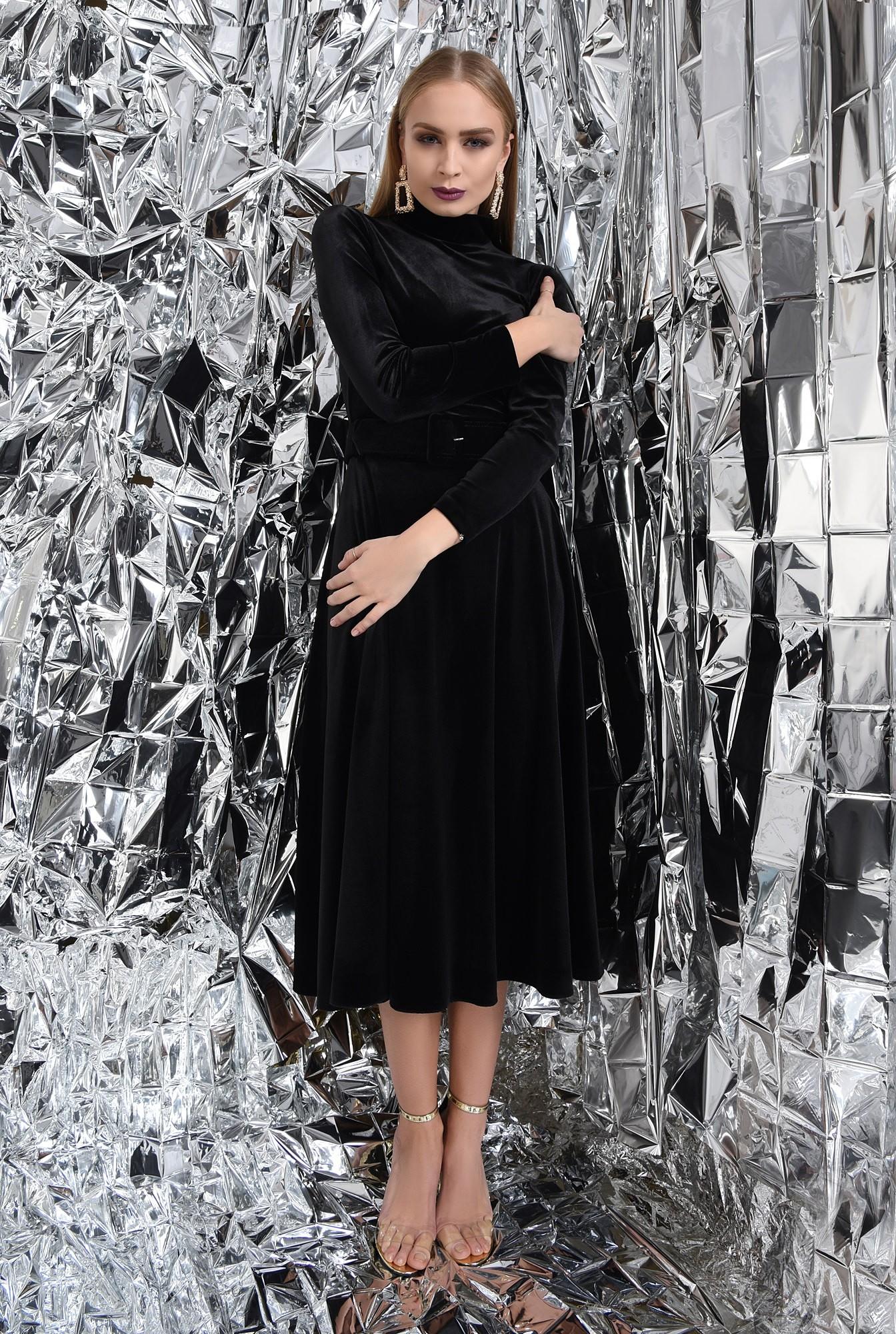 0 - fusta eleganta, neagra, midi, clos, cu centura