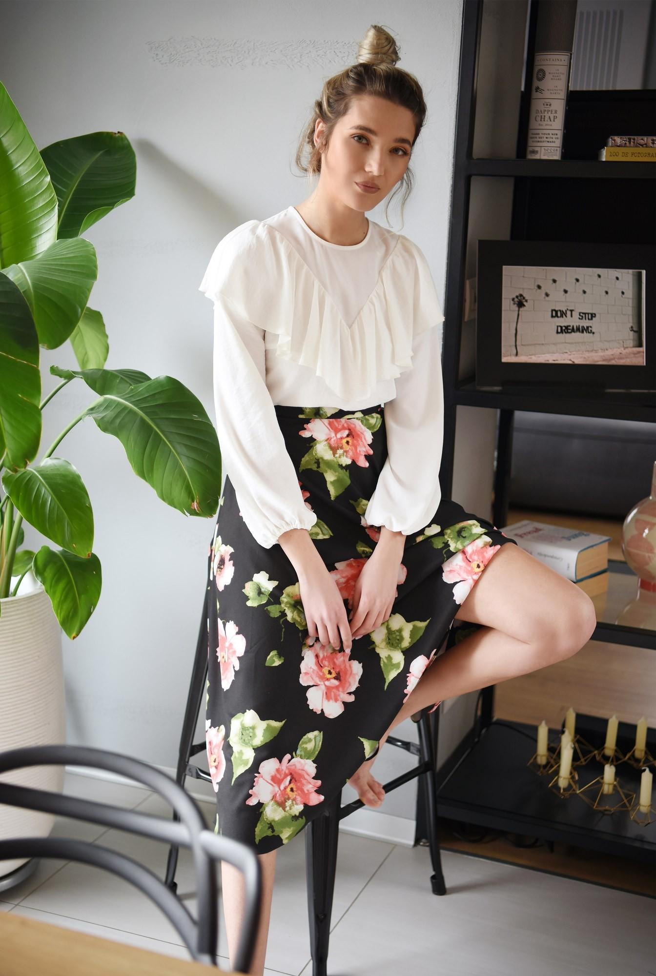 0 - fusta casual, cu flori, midi, talie inalta, fusta de primavara