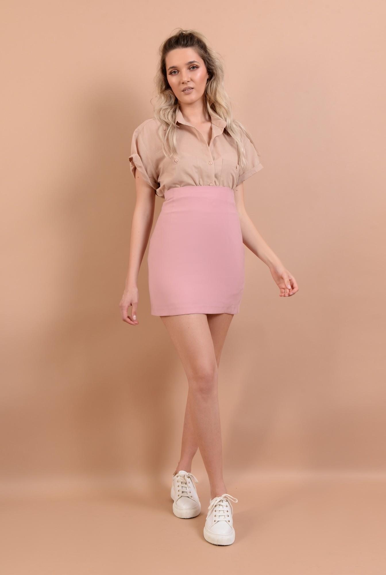 3 - fusta mini, roz, talie inalta, croi ajustat
