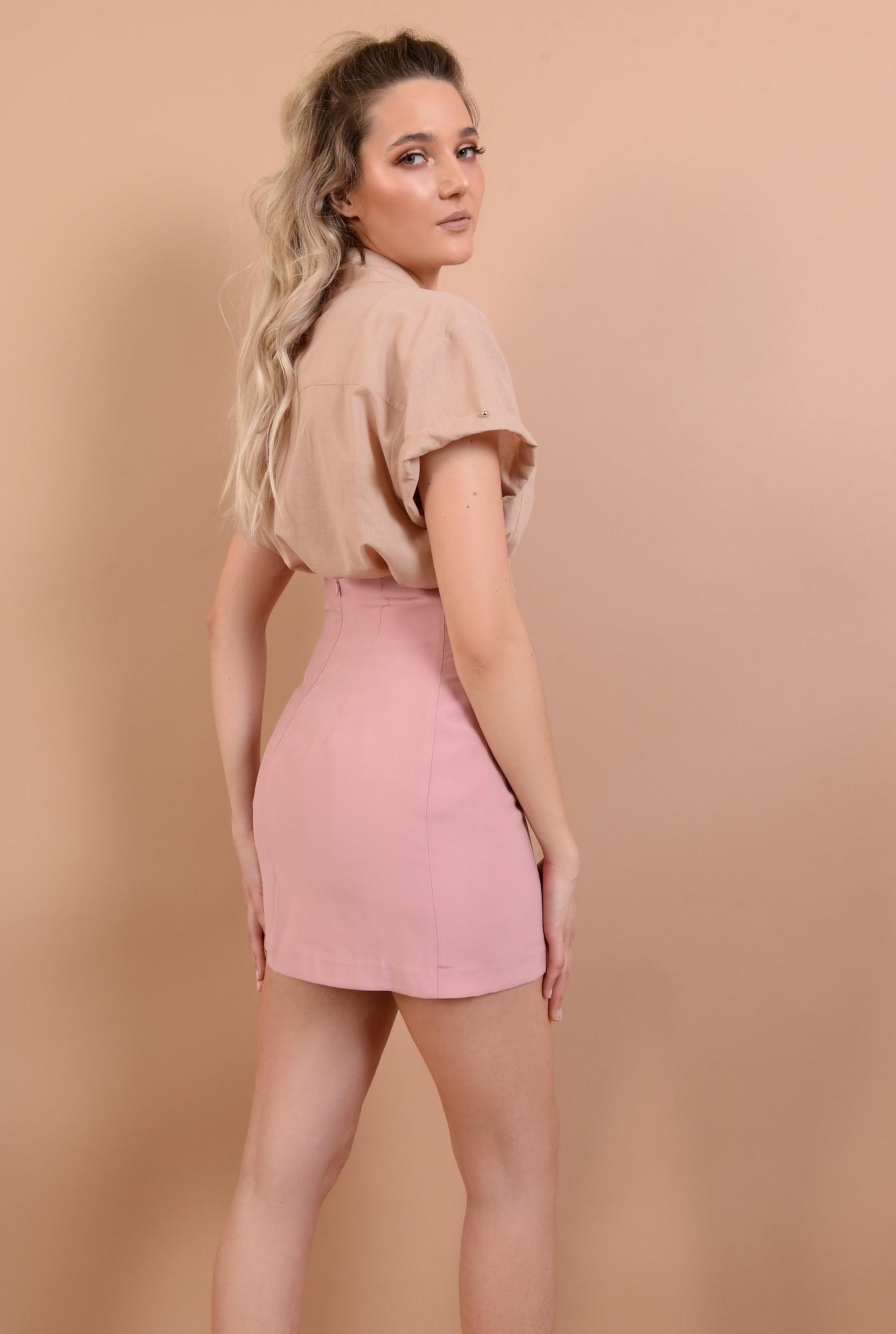 1 - fusta mini, roz, talie inalta, croi ajustat