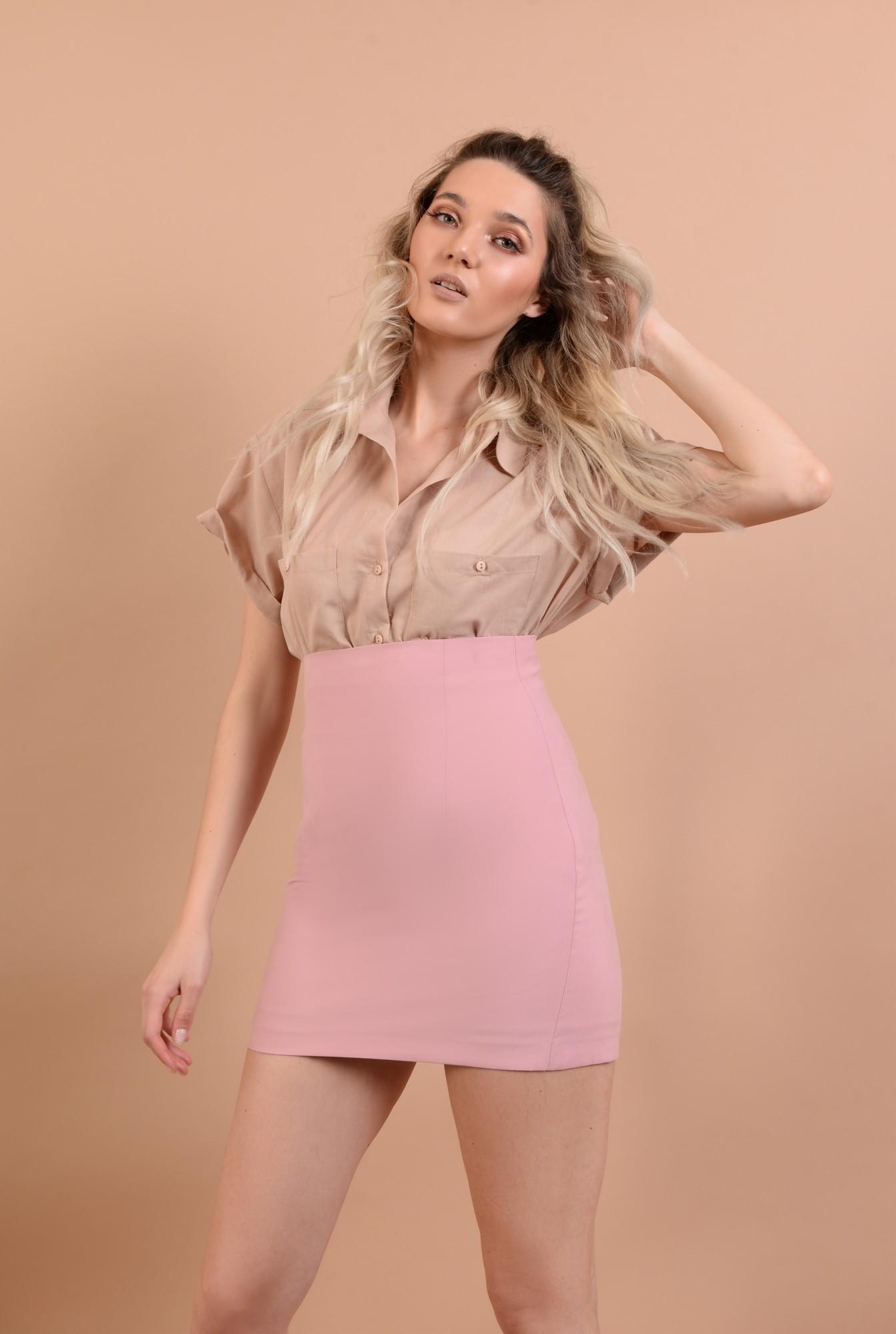 2 - fusta mini, roz, talie inalta, croi ajustat