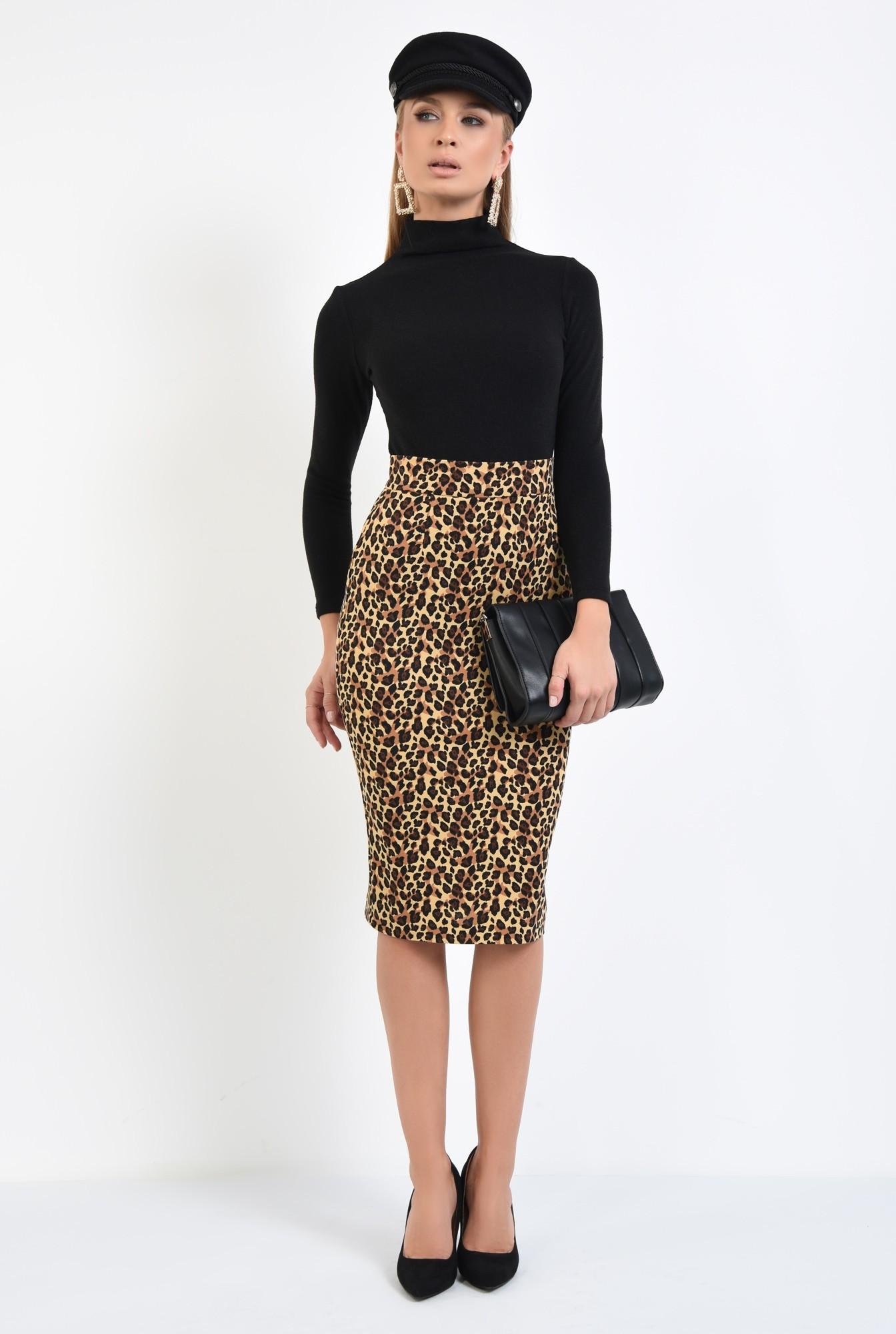 3 - fusta cu imprimeu leopard, midi, tesatura elastica