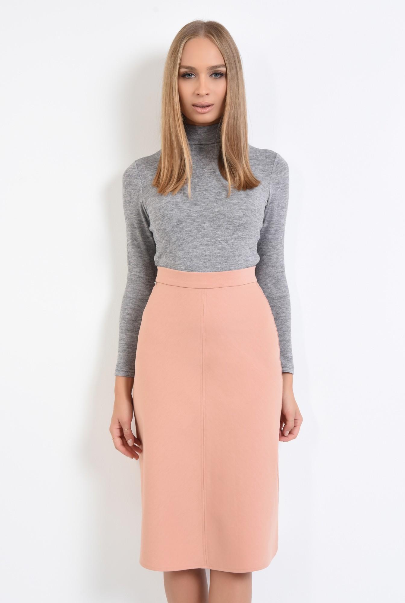 2 - fusta casual, roz, piersica, talie inalta