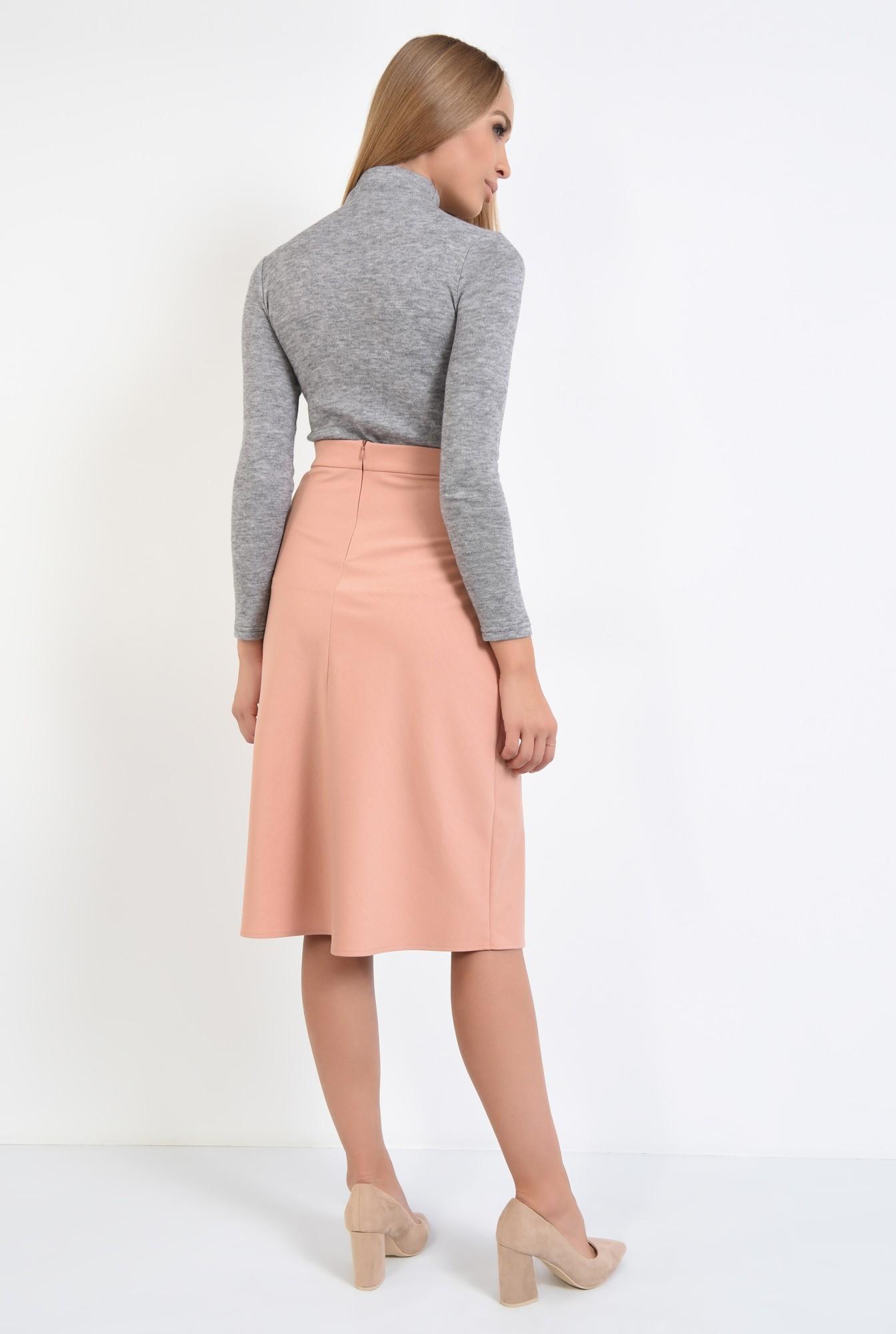1 - fusta casual, roz, piersica, talie inalta