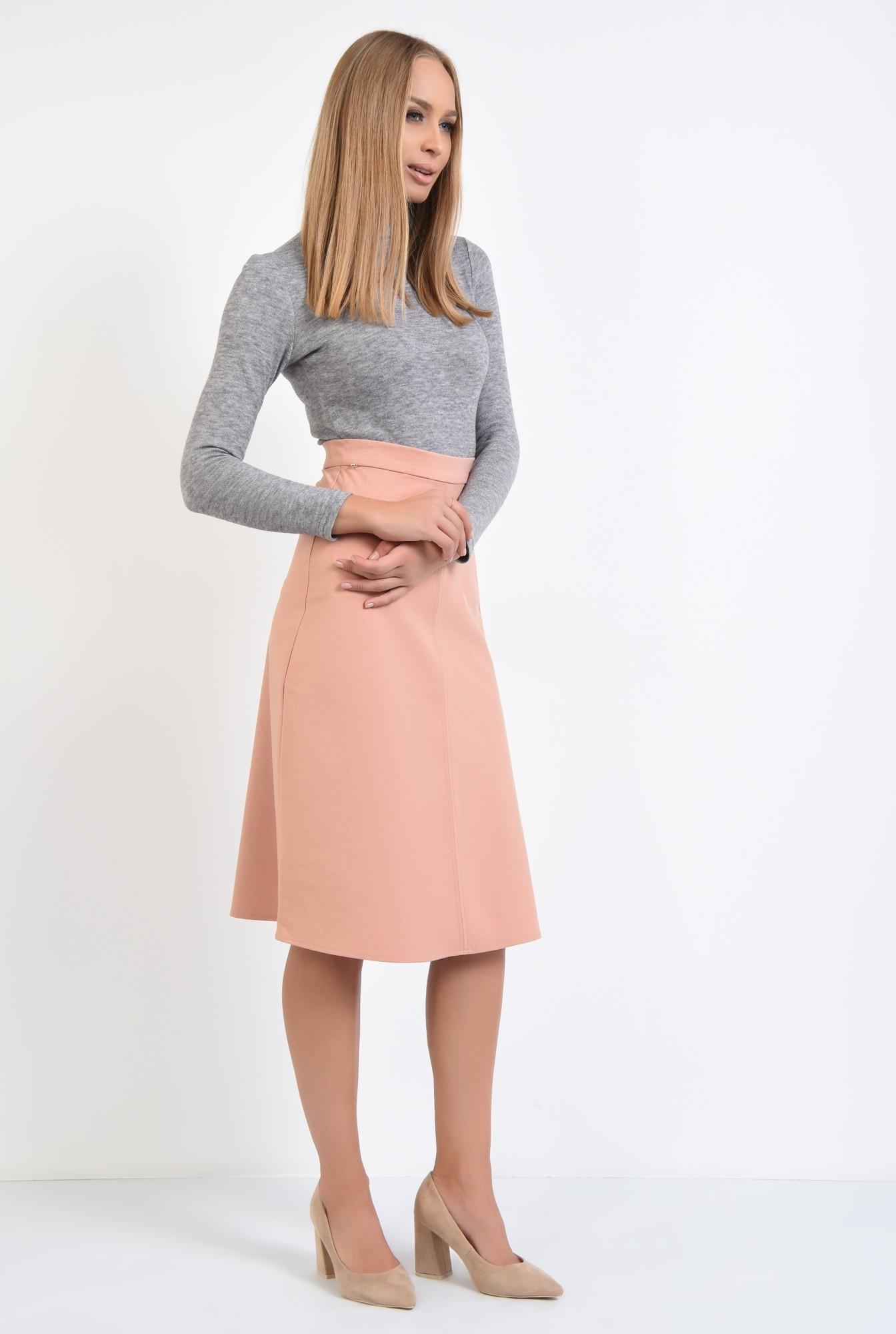 3 - fusta casual, roz, piersica, talie inalta