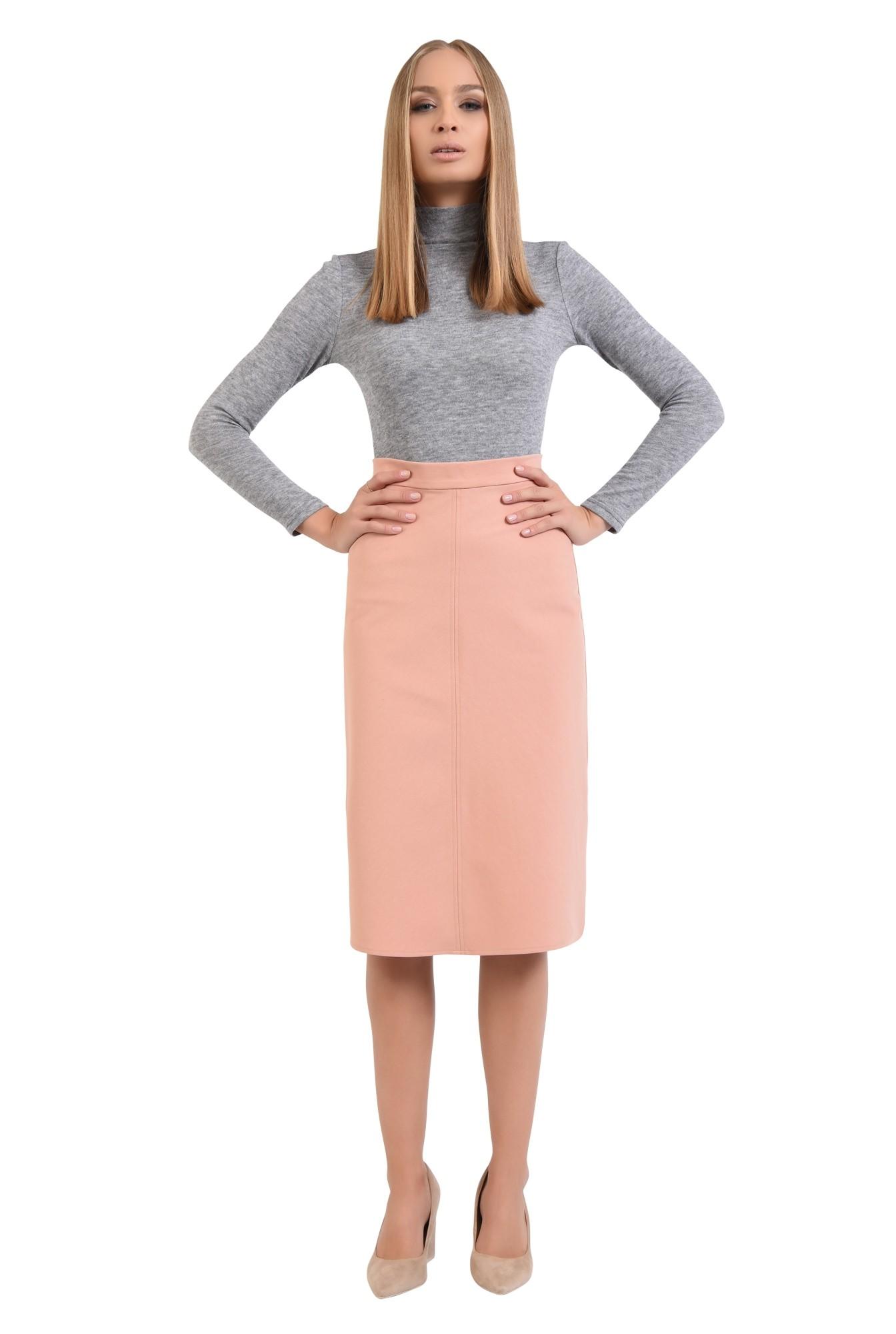 0 - fusta casual, roz, piersica, talie inalta