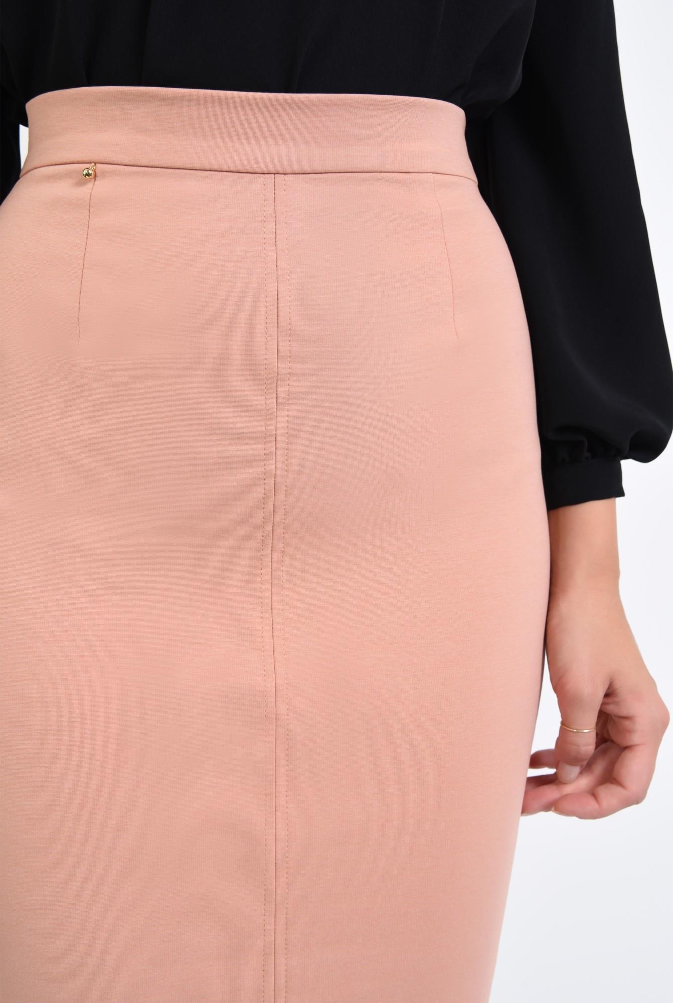2 - fusta casual, roz piersica, croi conic, talie inalta