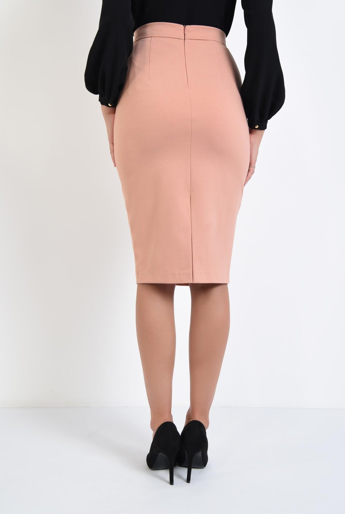 1 - fusta casual, roz piersica, croi conic, talie inalta