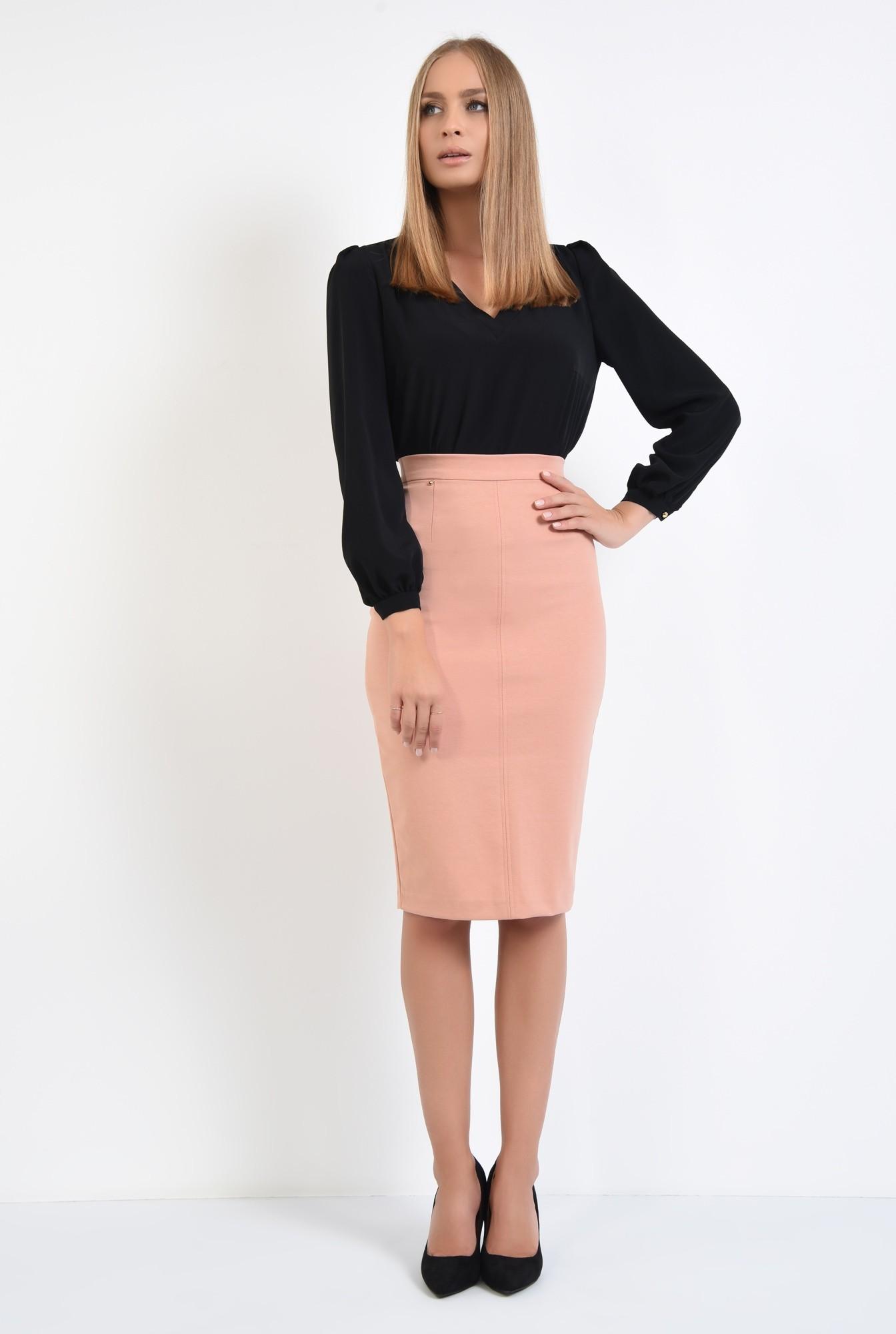 3 - fusta casual, roz piersica, croi conic, talie inalta
