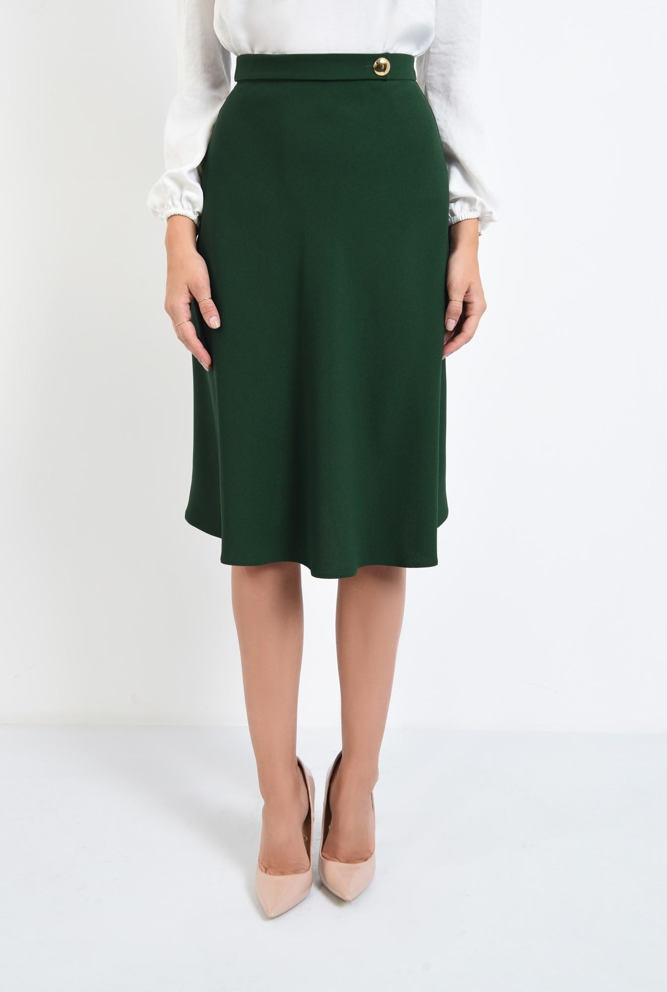 2 - fusta casual, evazata, verde, talie inalta