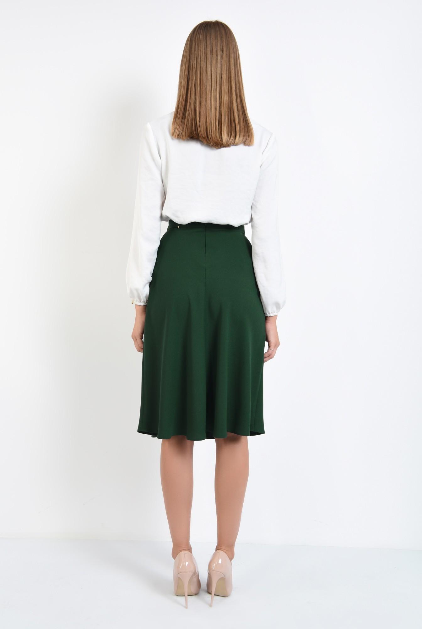 1 - fusta casual, evazata, verde, talie inalta