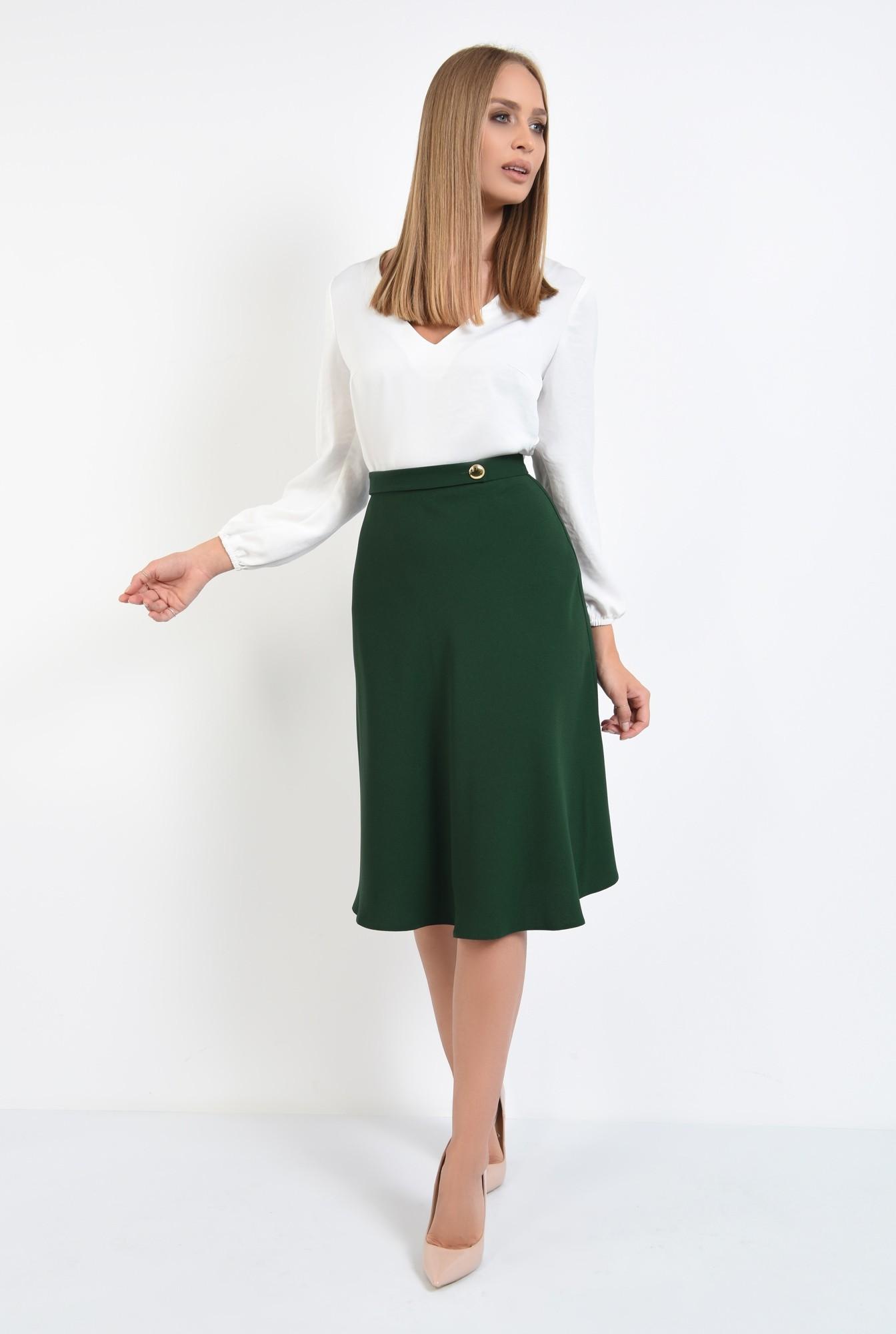 3 - fusta casual, evazata, verde, talie inalta