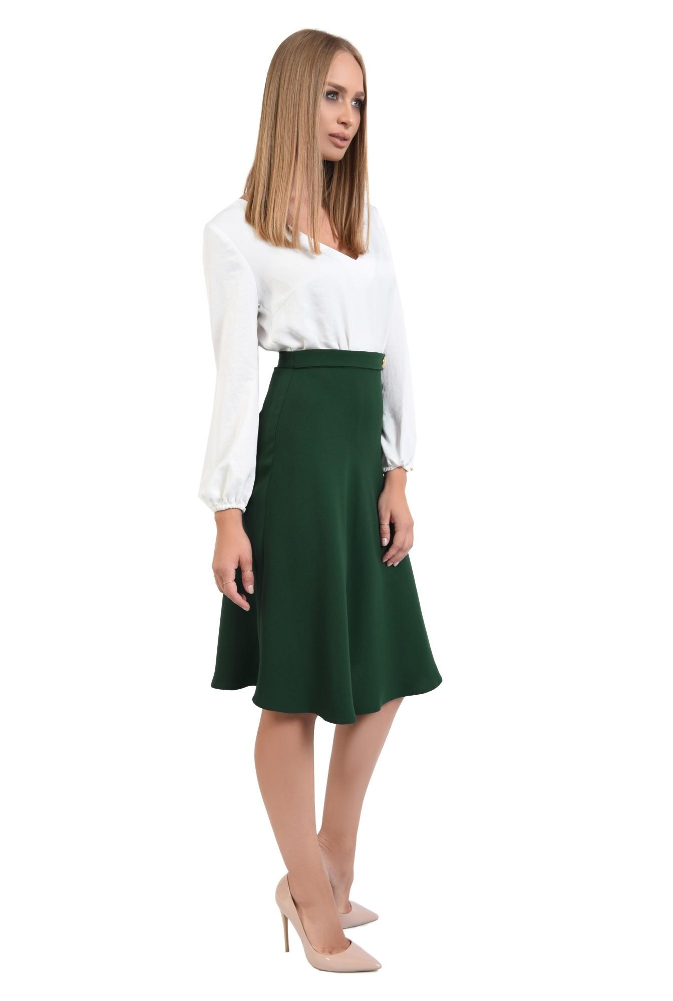 0 - fusta casual, evazata, verde, talie inalta