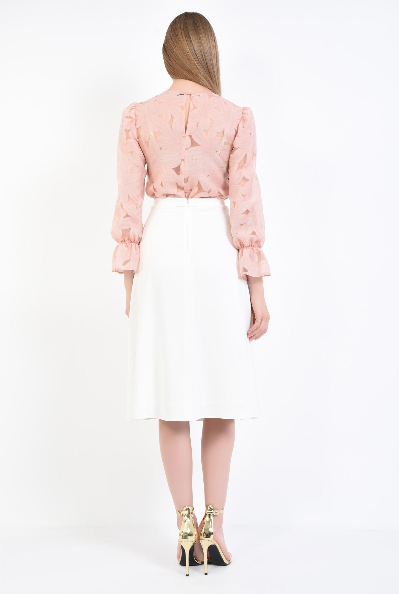 1 - fusta eleganta, alb, midi, cloche