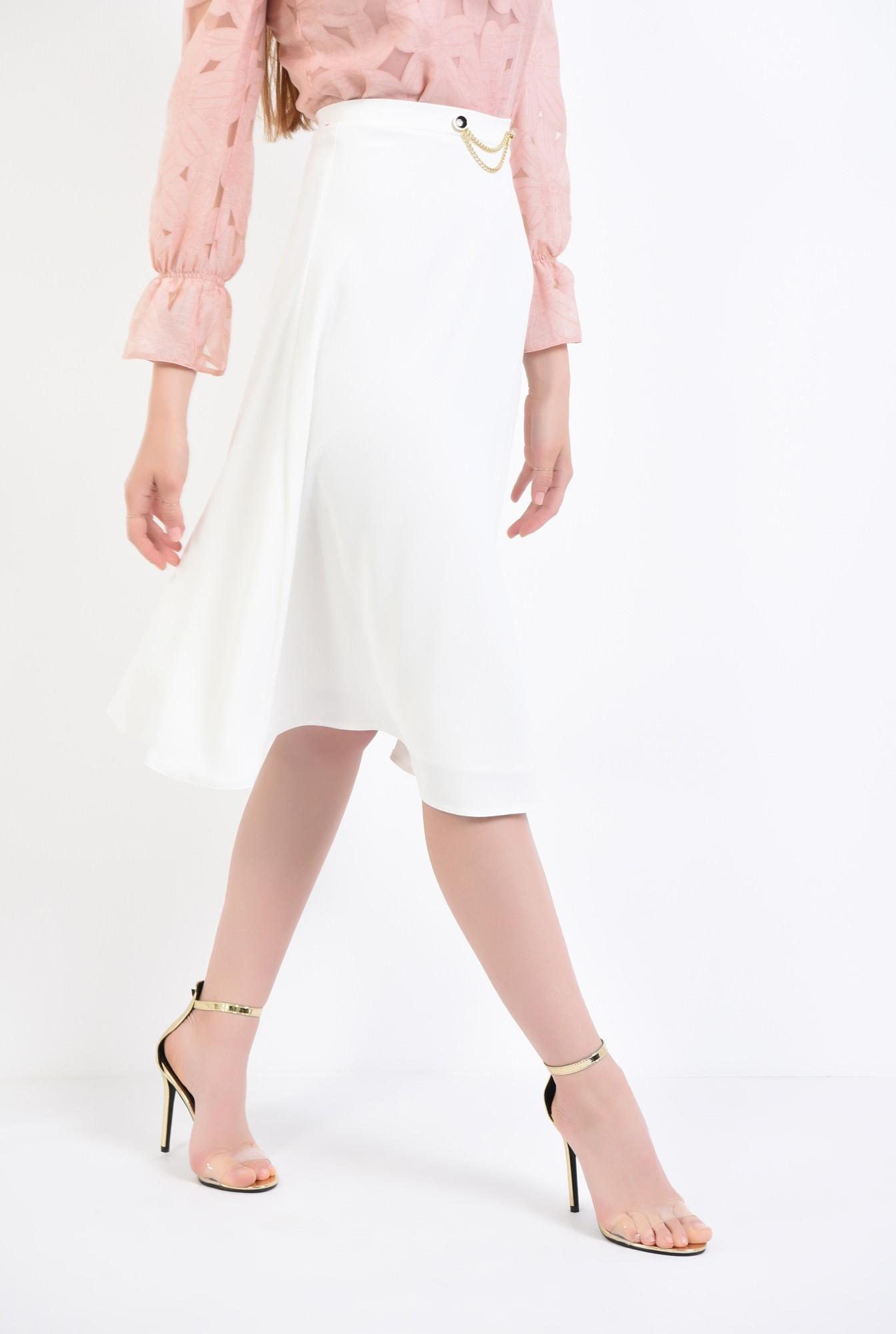 2 - fusta eleganta, alb, midi, cloche