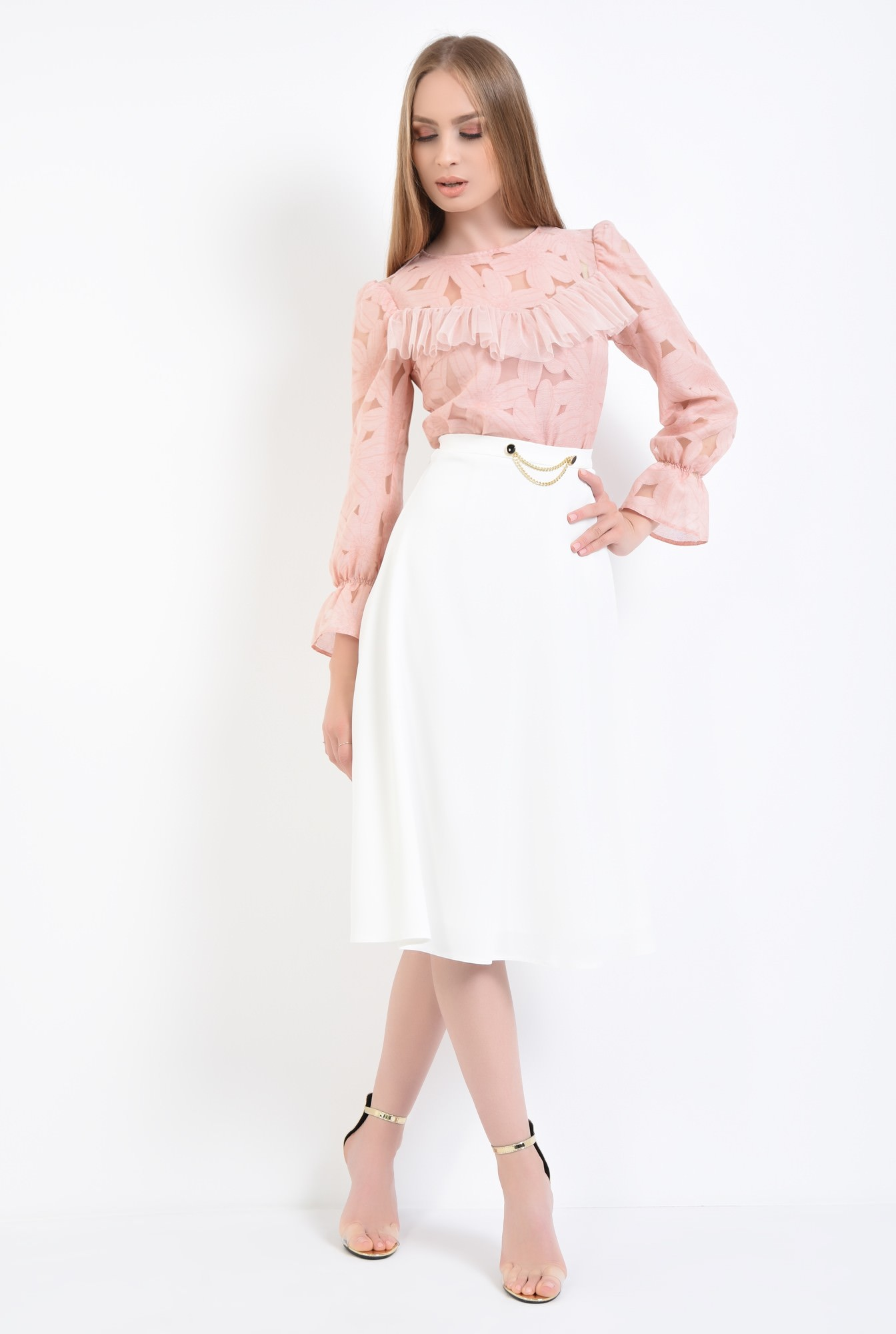 3 - fusta eleganta, alb, midi, cloche