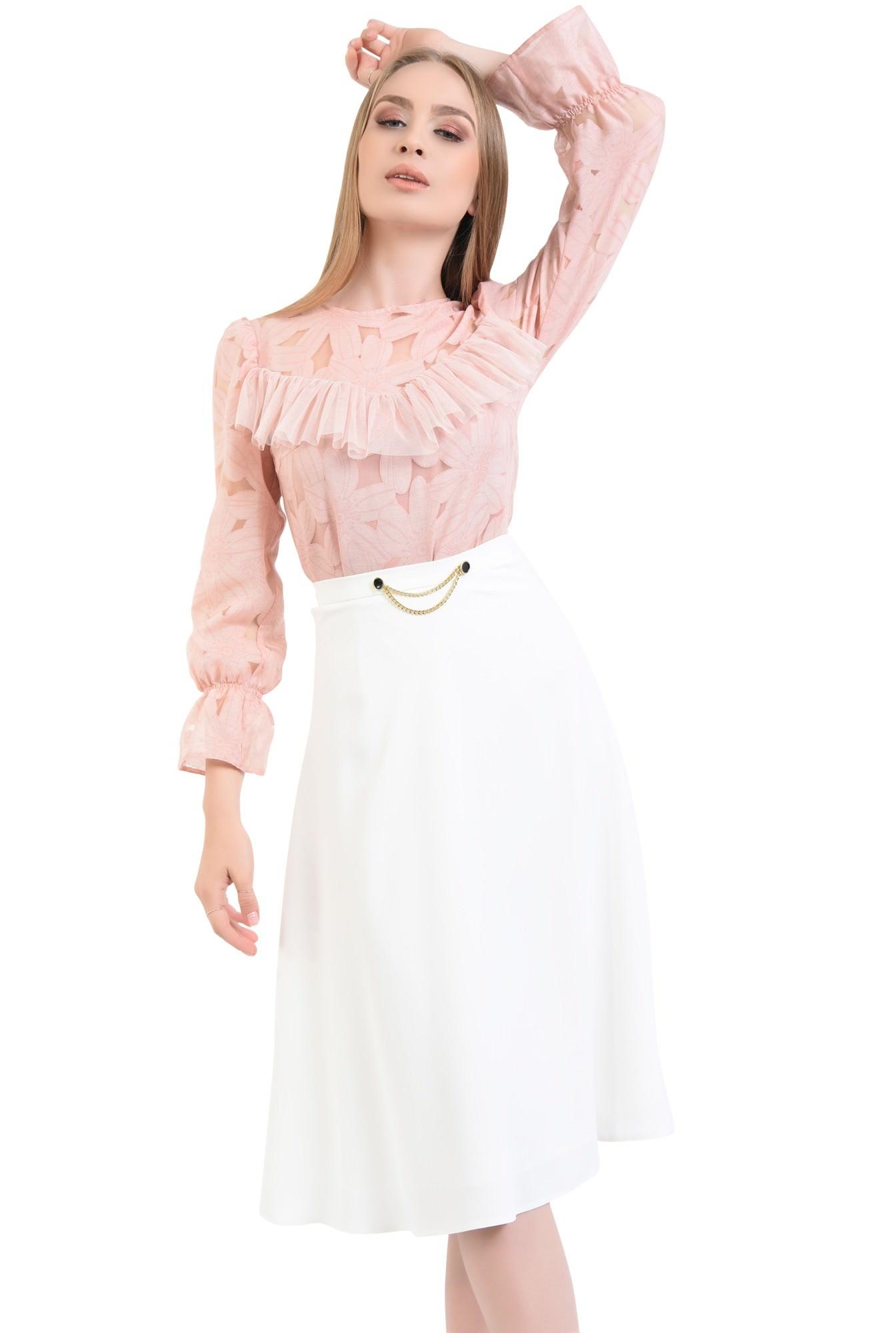 0 - fusta eleganta, alb, midi, cloche