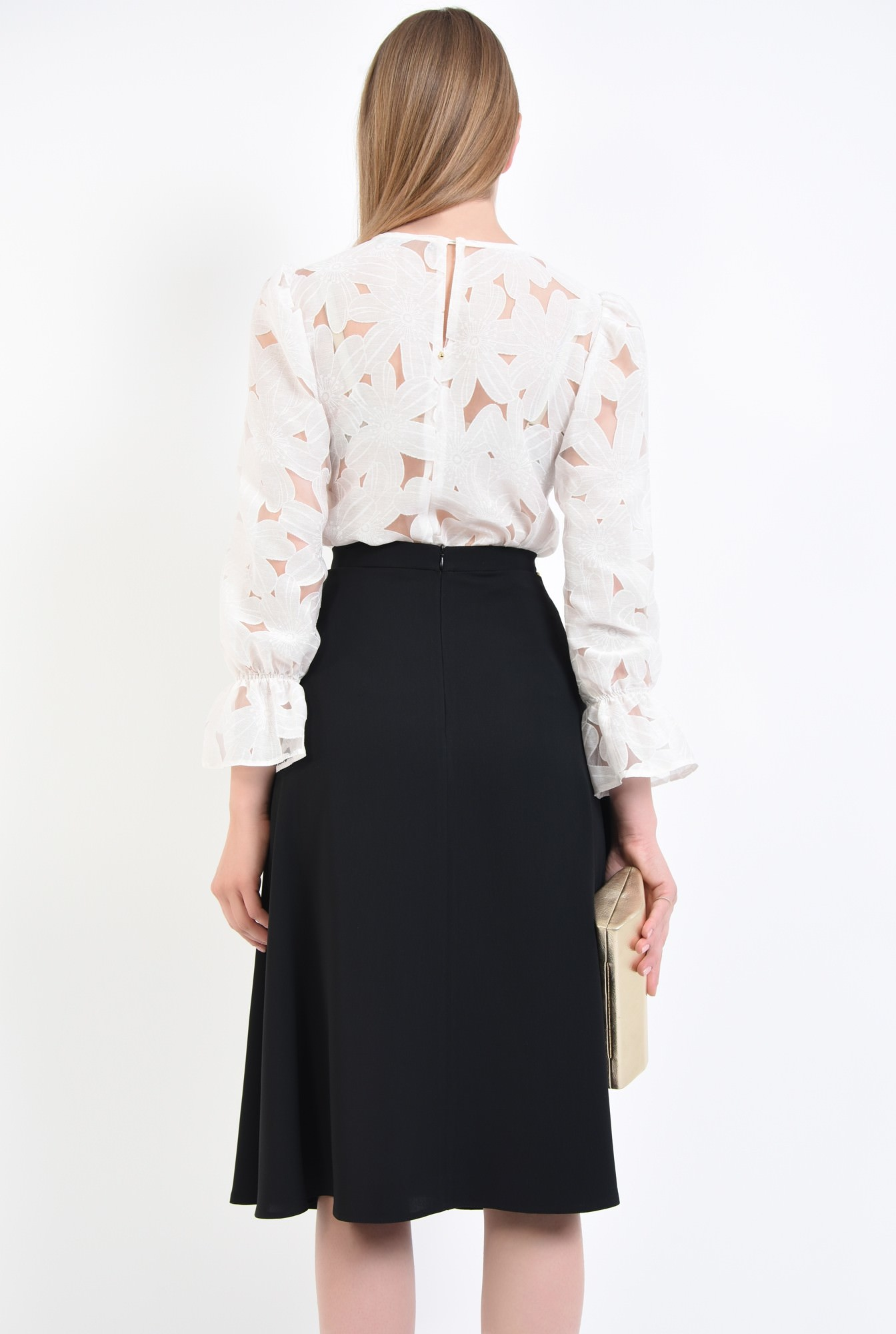 1 - fusta eleganta, midi, negru, cloche