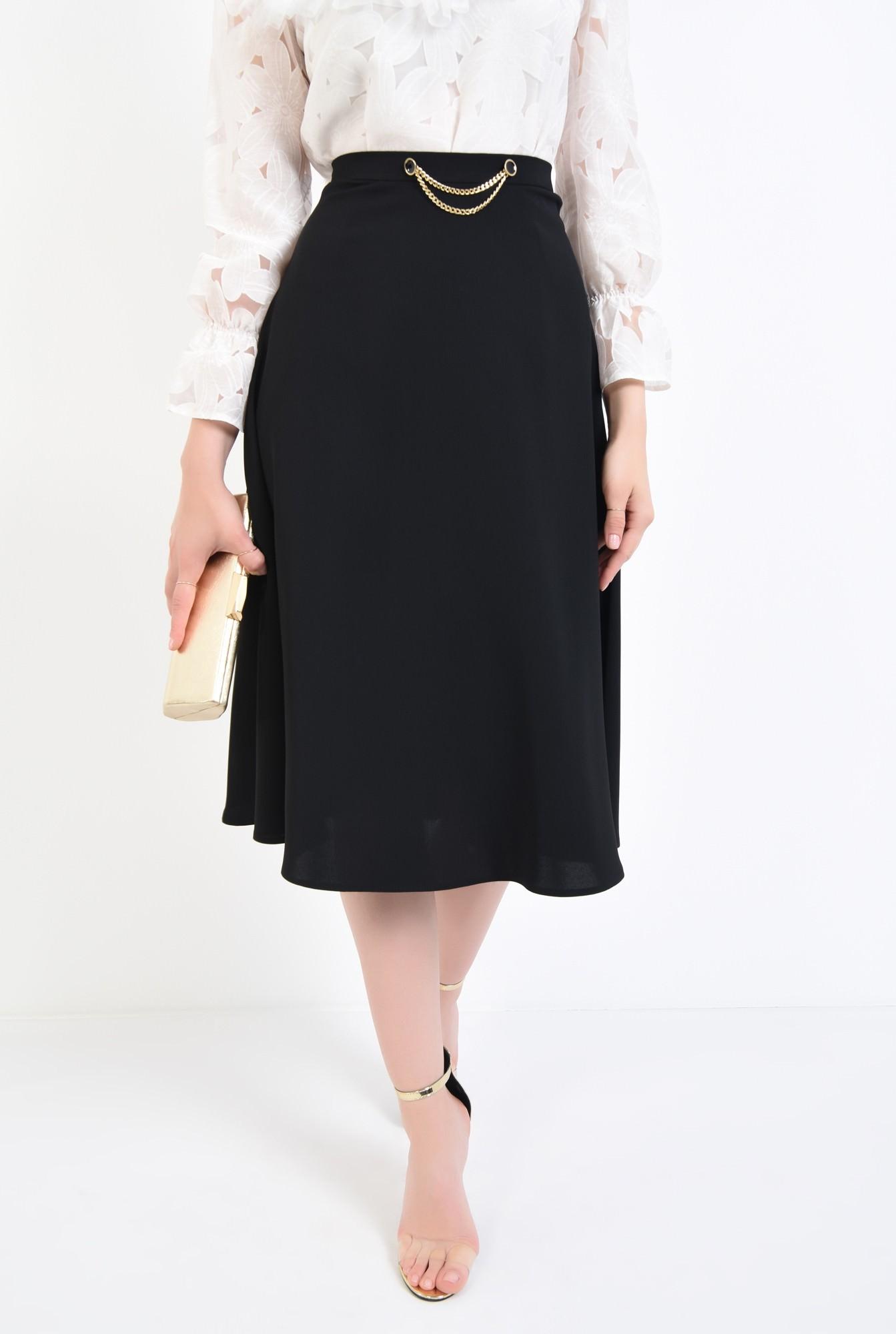 2 - fusta eleganta, midi, negru, cloche