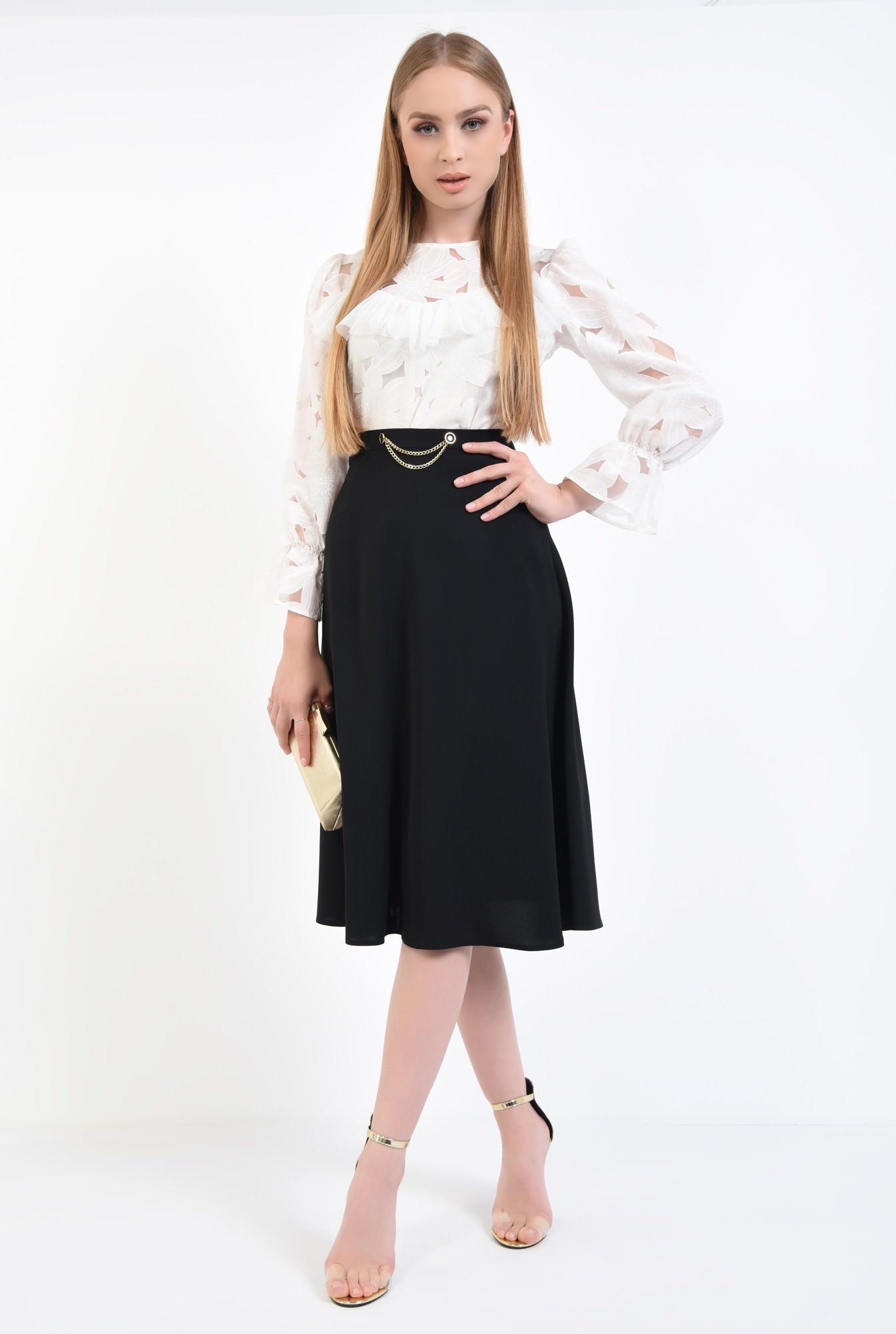 3 - fusta eleganta, midi, negru, cloche