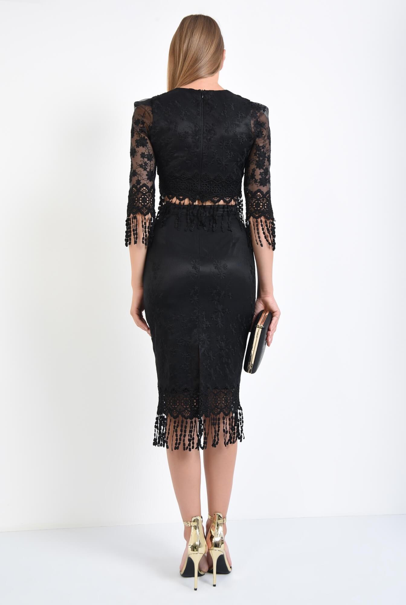 1 - fusta eleganta, midi, conica, negru, broderie decupata