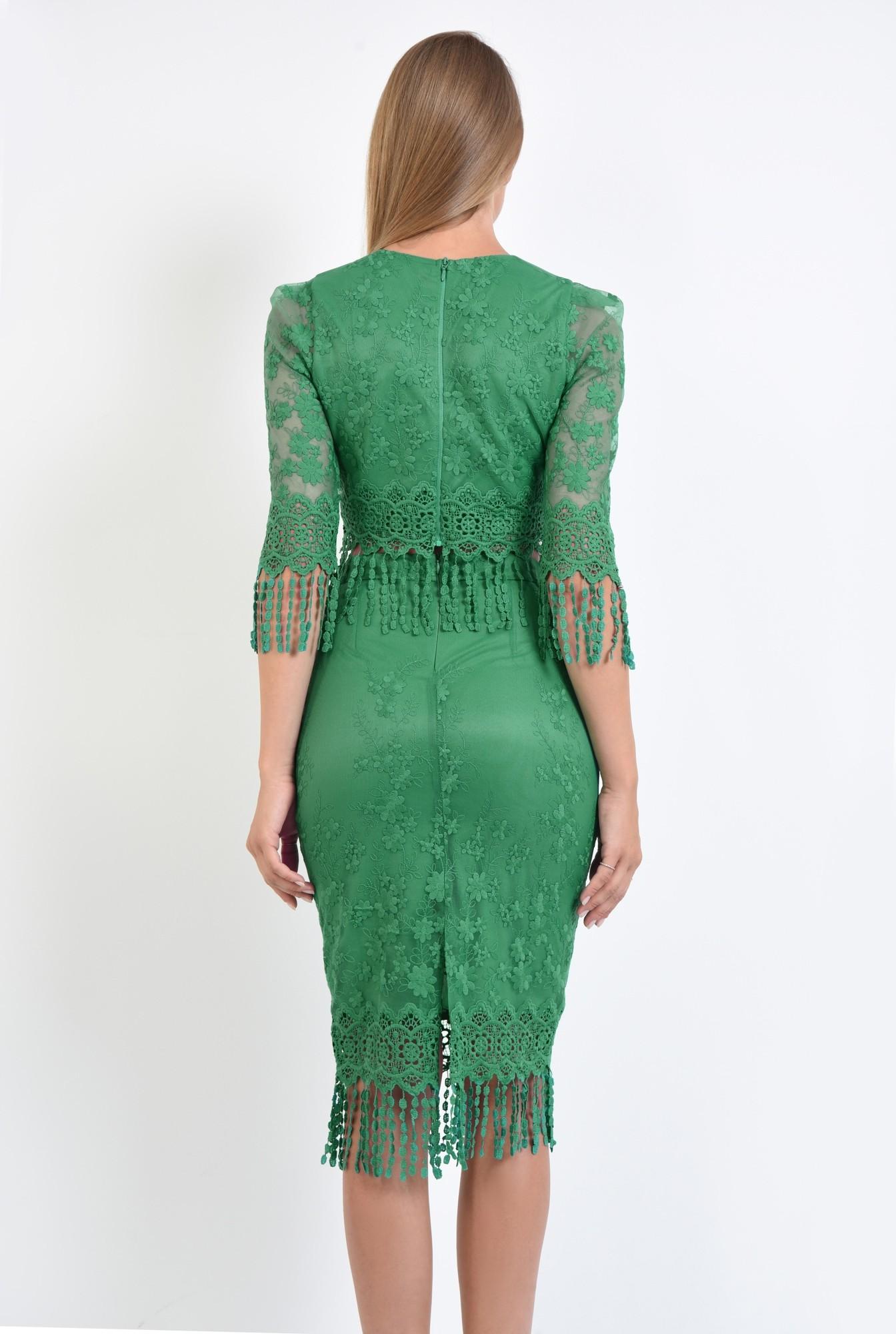 1 - fusta eleganta, midi, conica, dantela, verde