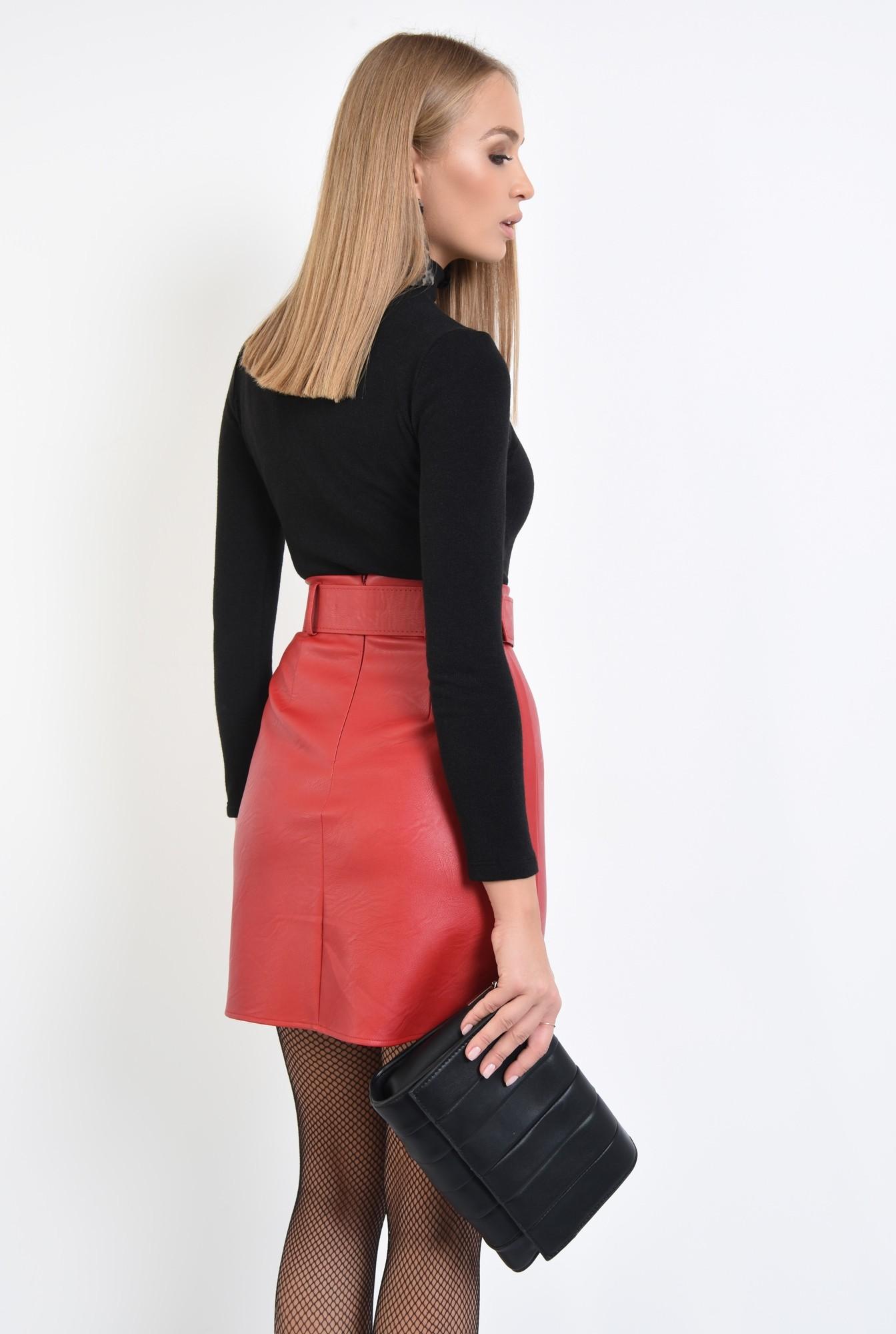 1 - 360 - fusta casual, scurta, rosie, cu centura, piele ecologica