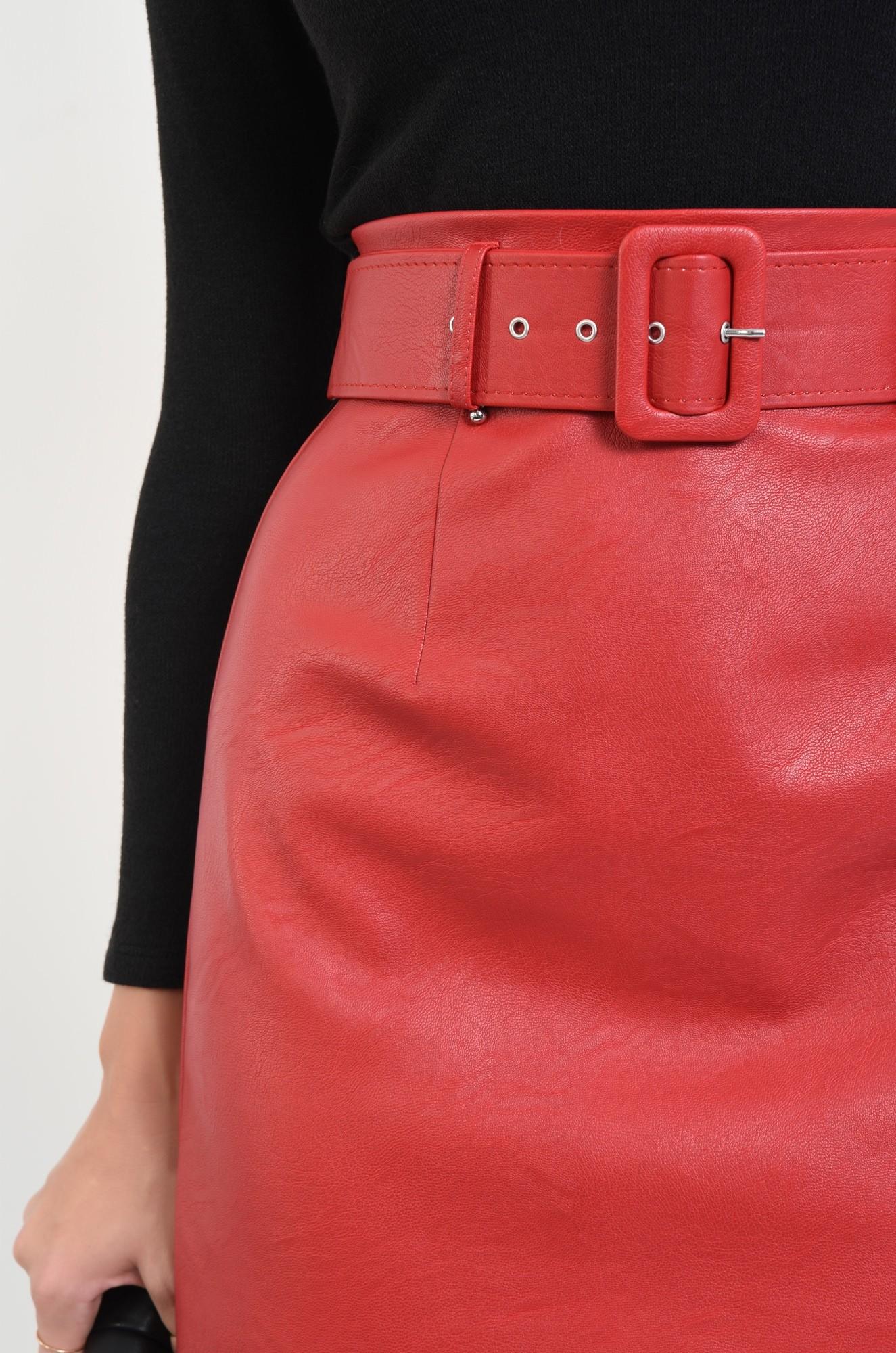 2 - 360 - fusta casual, scurta, rosie, cu centura, piele ecologica