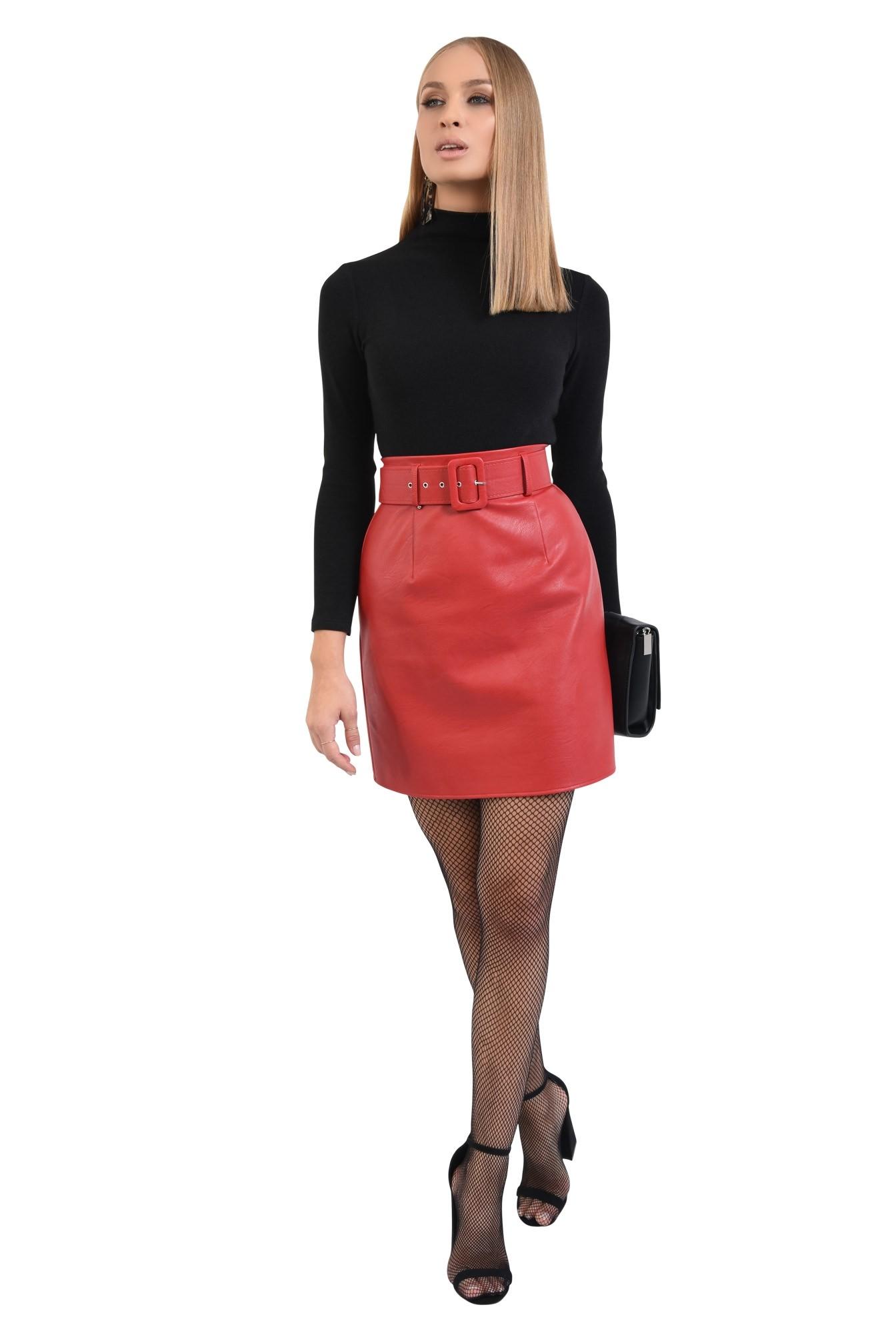 3 - 360 - fusta casual, scurta, rosie, cu centura, piele ecologica