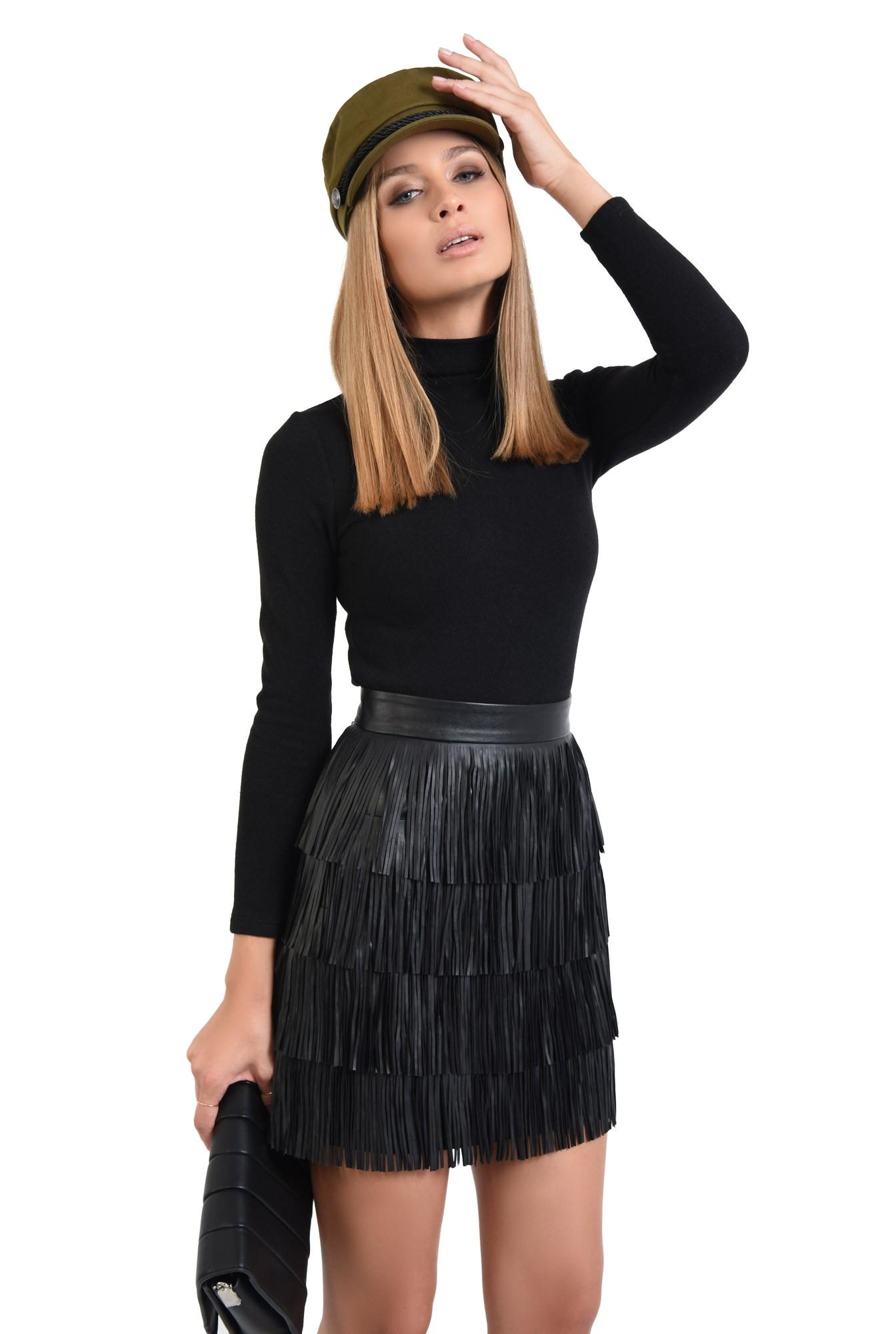 0 - fusta casual mini, franjuri din piele, talie inalta