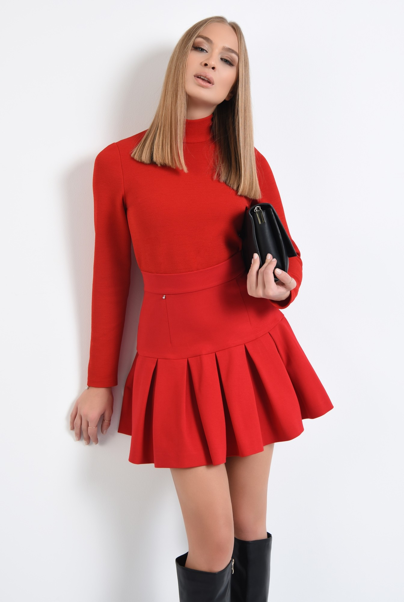 2 - 360 - fusta rosie, de zi, tesatura elastica, colectie toamna