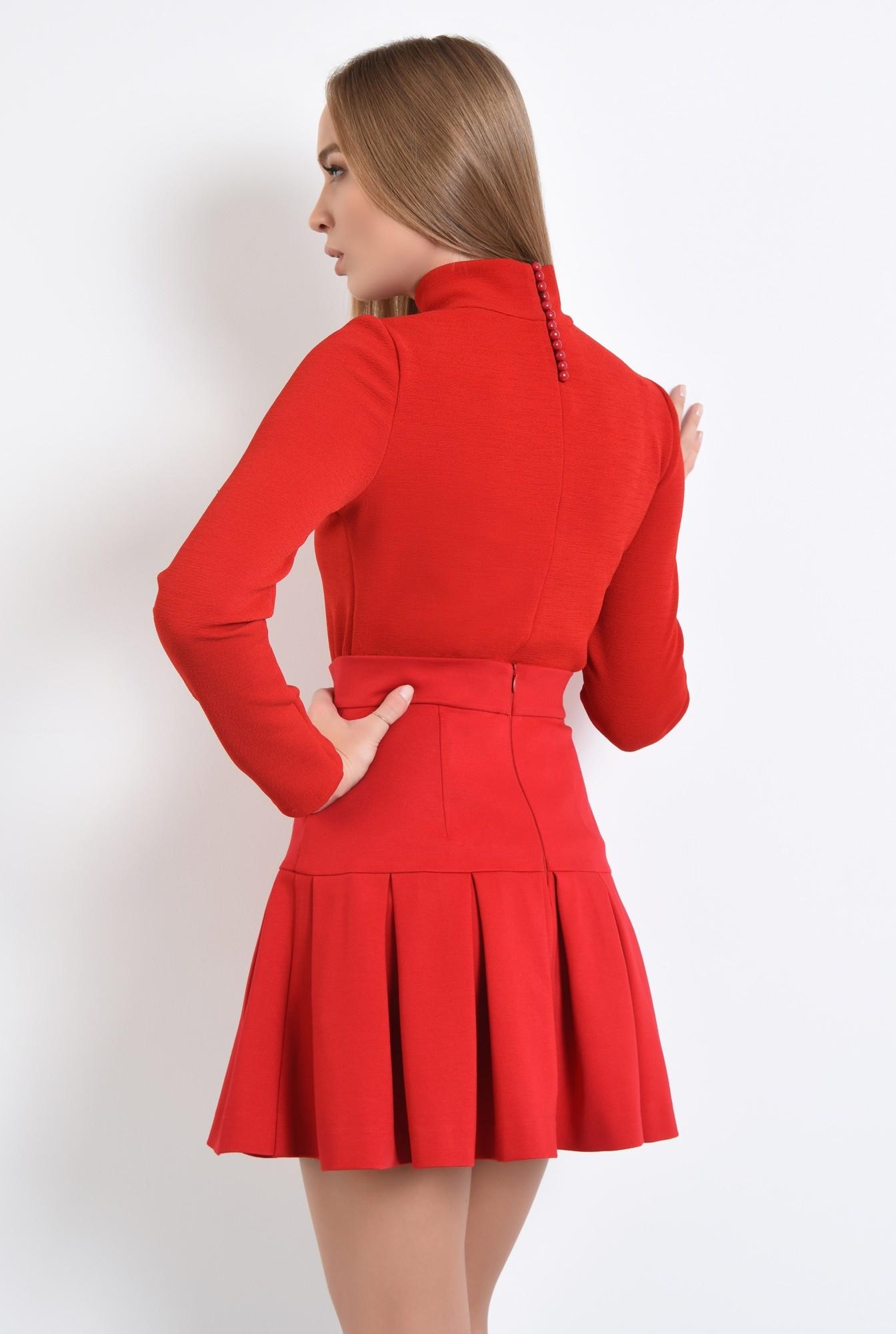 1 - 360 - fusta rosie, de zi, tesatura elastica, colectie toamna