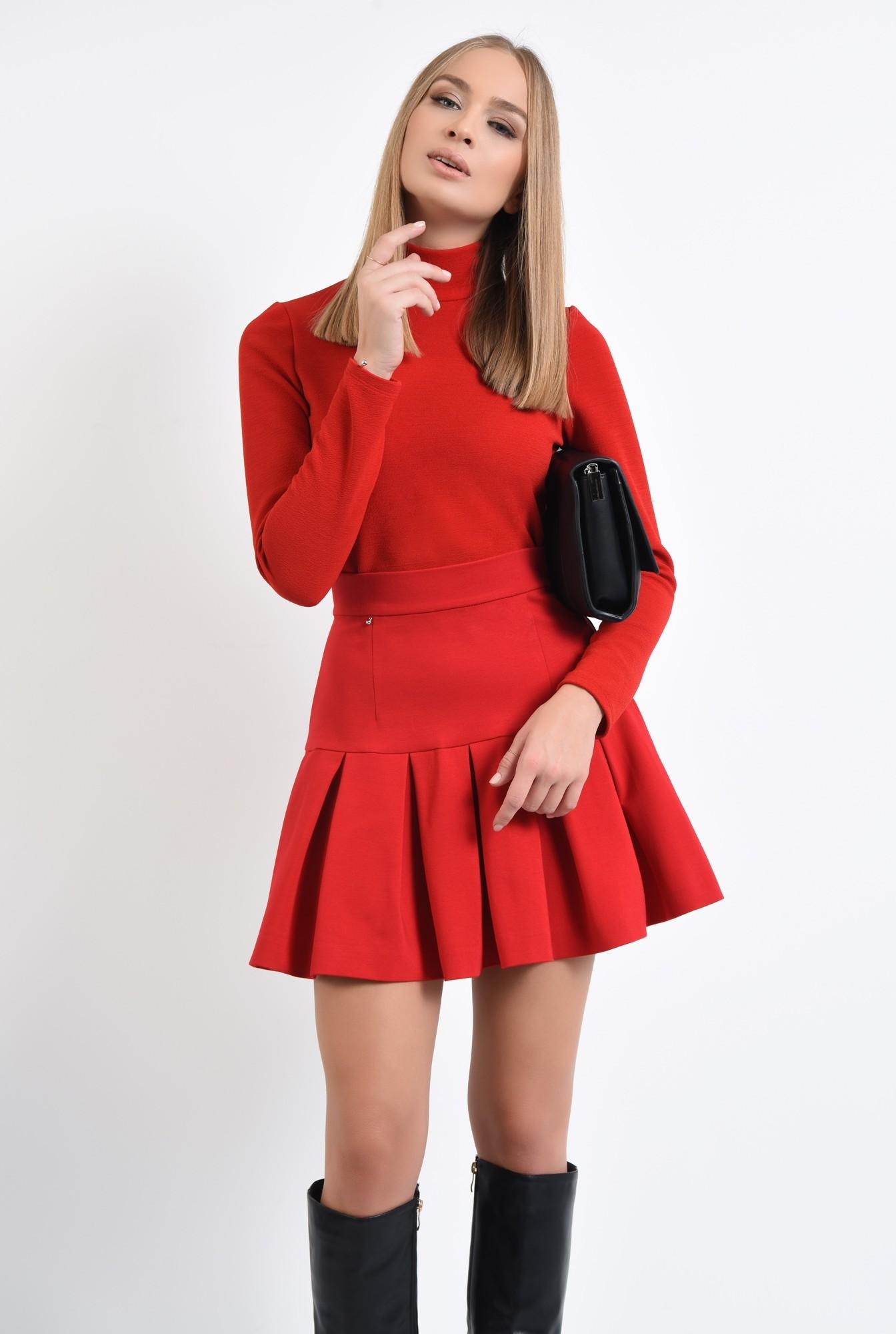 0 - 360 - fusta rosie, de zi, tesatura elastica, colectie toamna