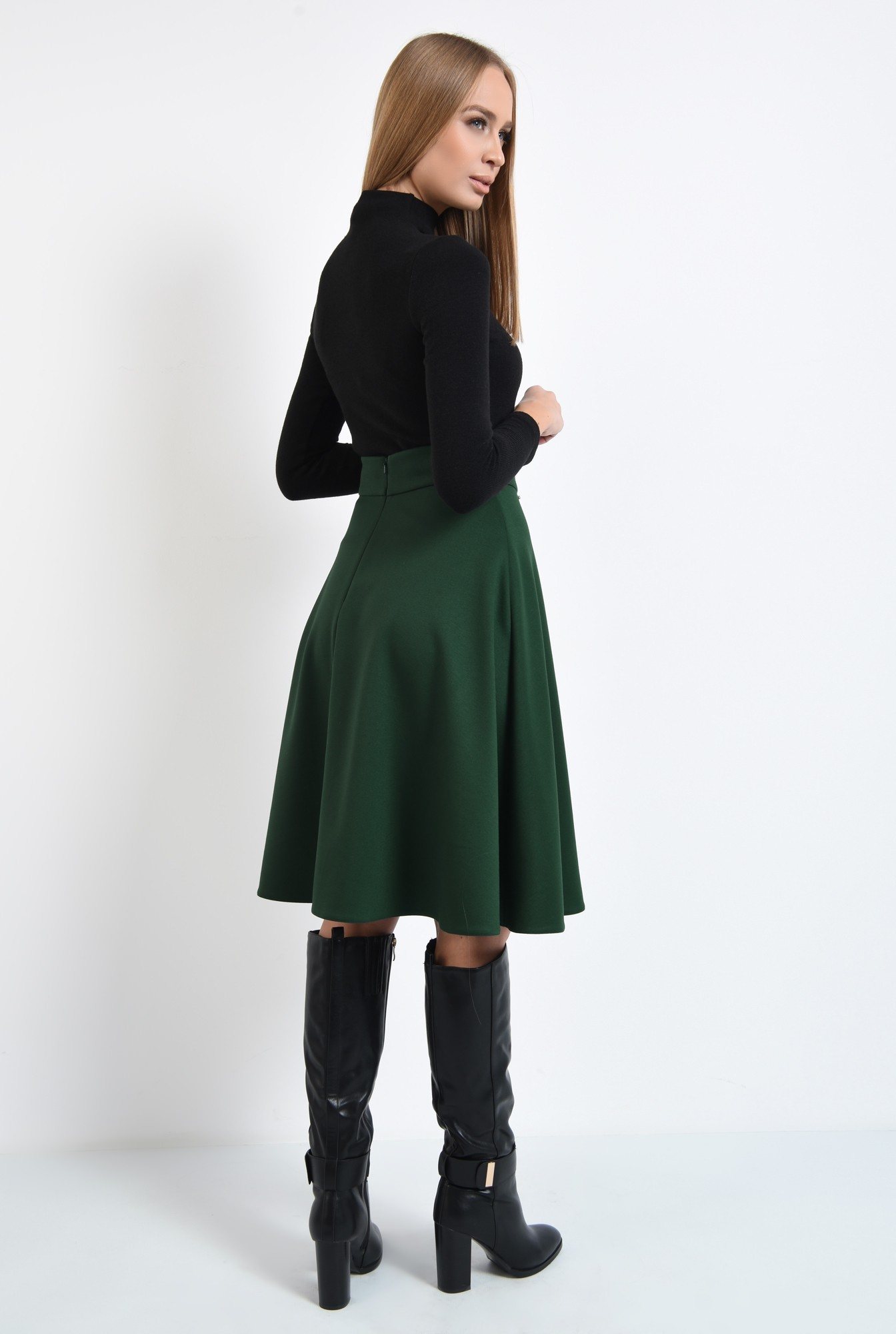 1 - fusta verde, clos, midi, tesatura elastica