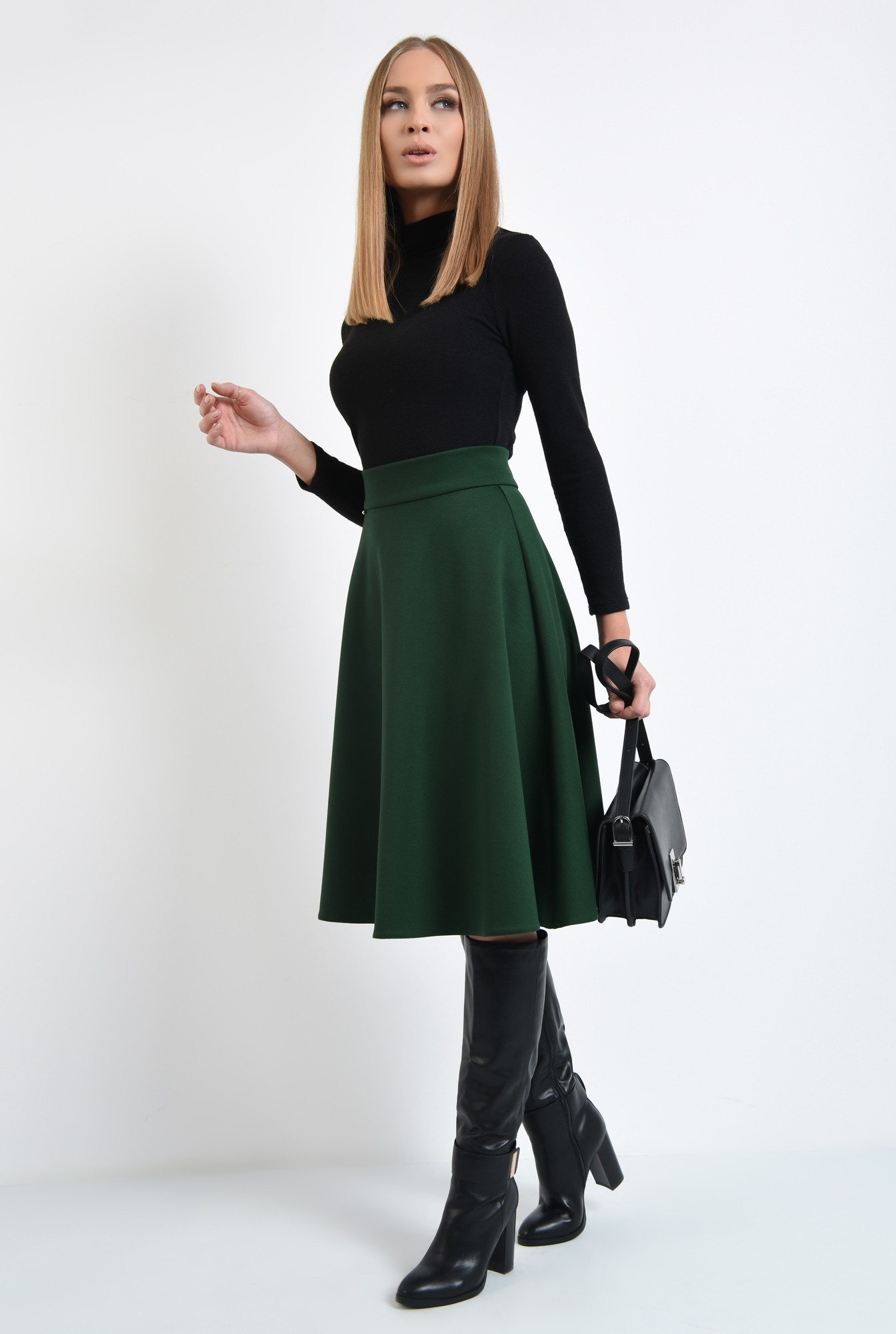 3 - fusta verde, clos, midi, tesatura elastica