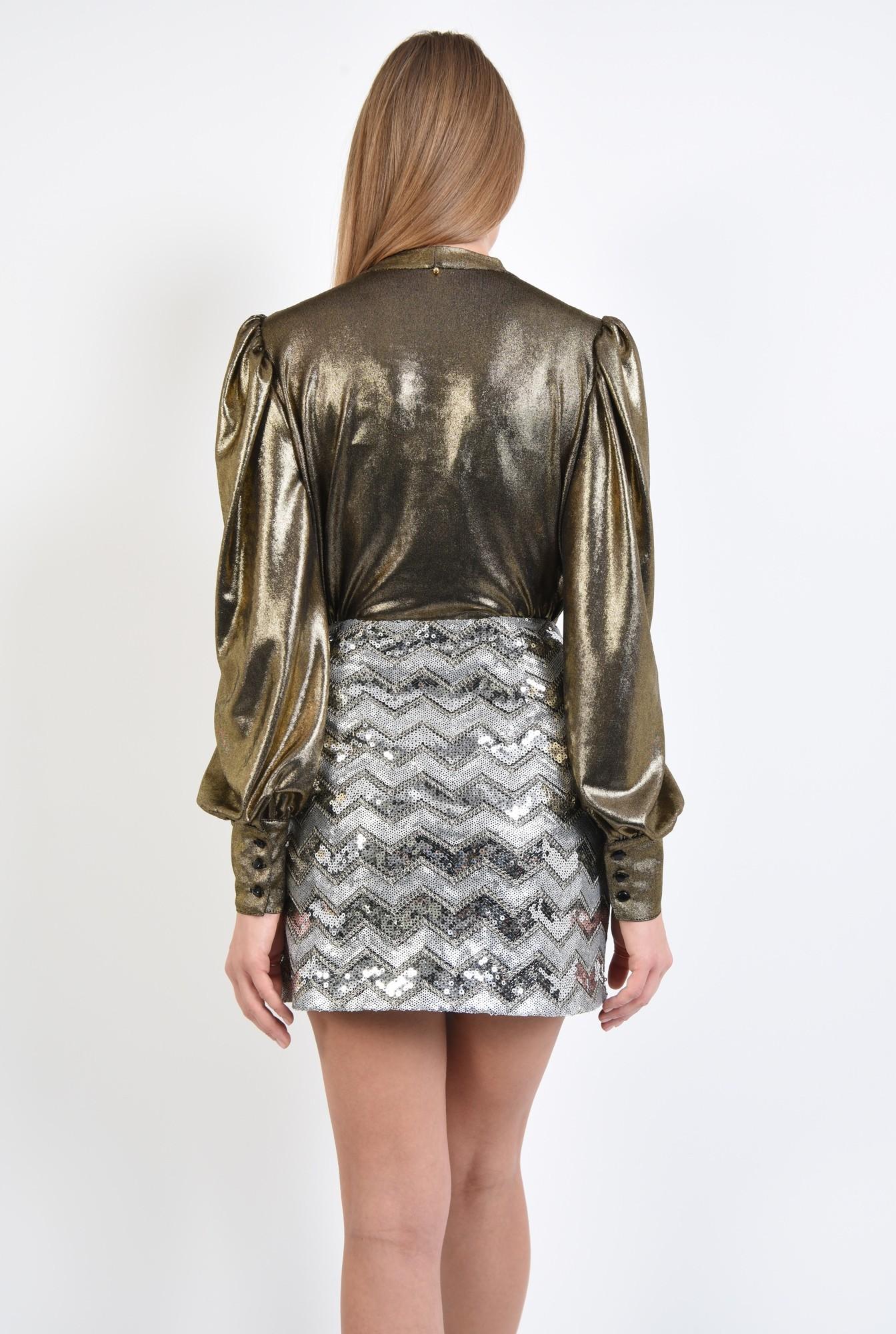 1 - fusta eleganta, paiete argintii, dungi chevron, scurta, croi drept