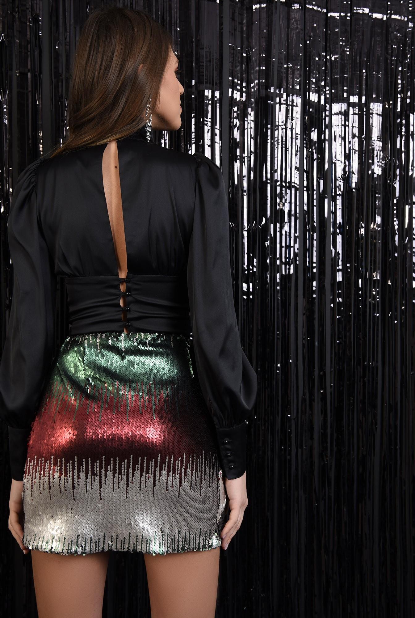 1 - fusta eleganta, paiete multicolore, scurta, croi drept