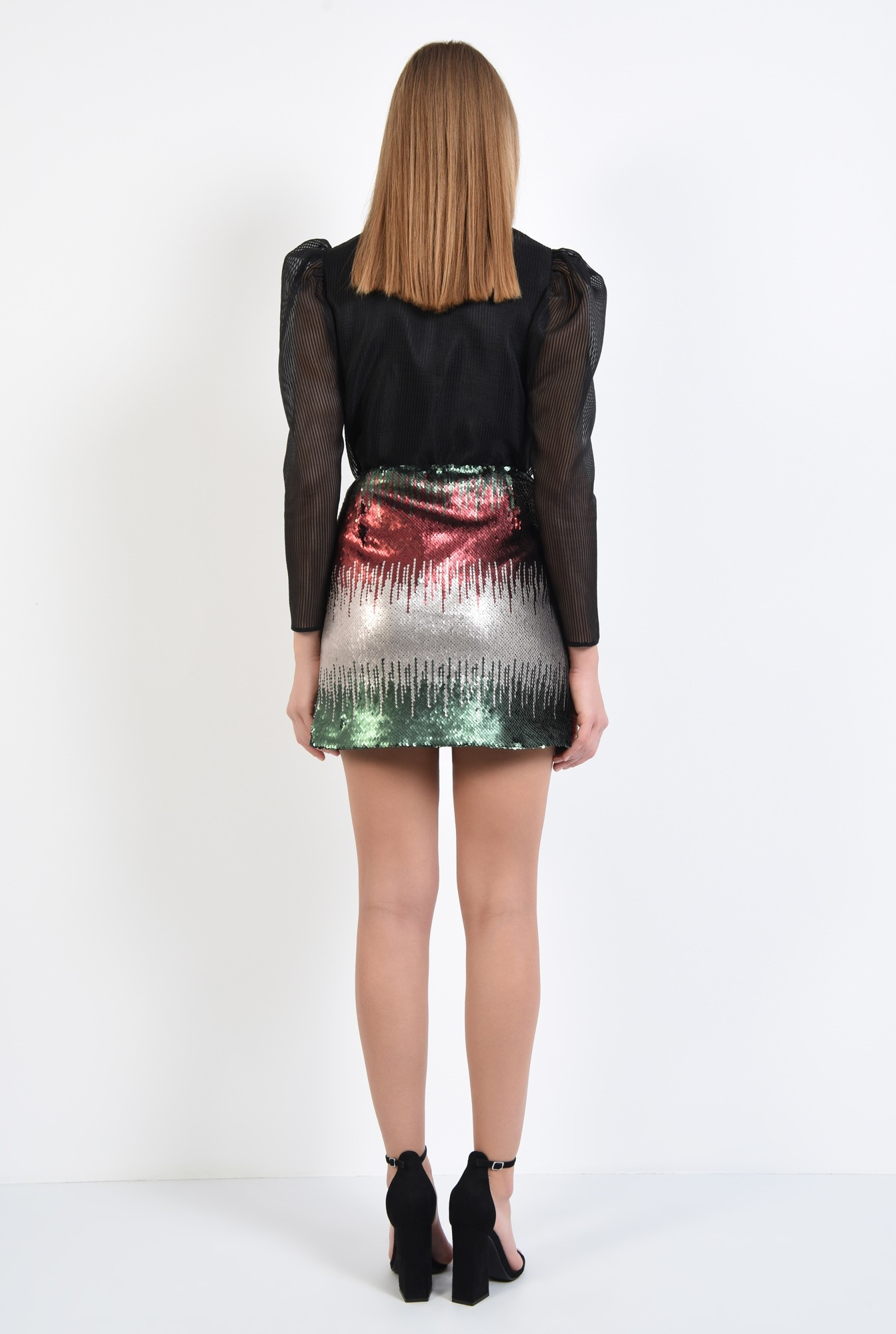 1 - 360 - fusta multicolora, paiete aplicate, croi drept, mini
