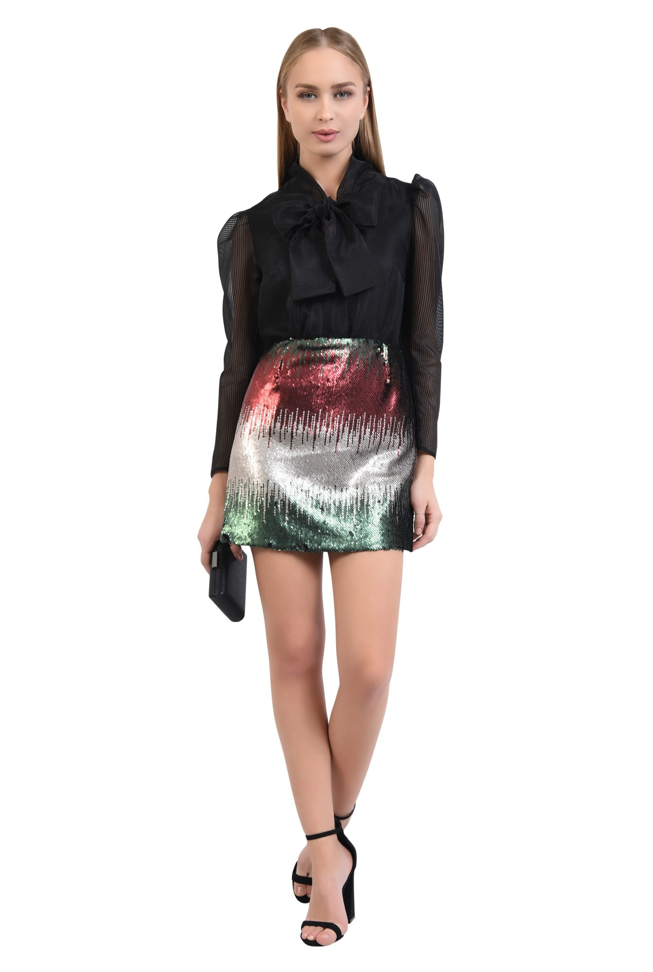 3 - 360 - fusta multicolora, paiete aplicate, croi drept, mini