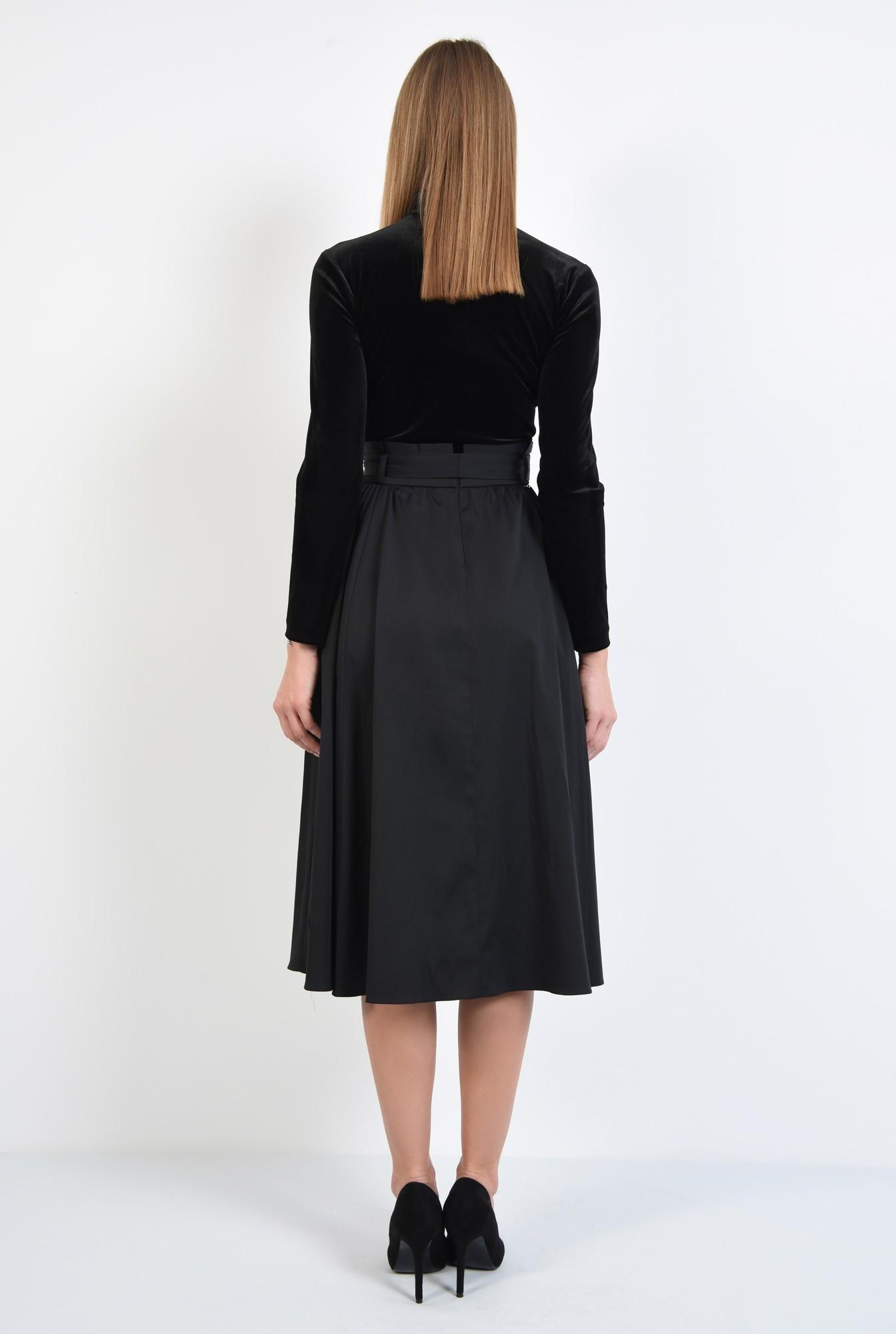 1 - 360 - fusta neagra eleganta, croi evazat, falduri, betelie plisata cu cordon