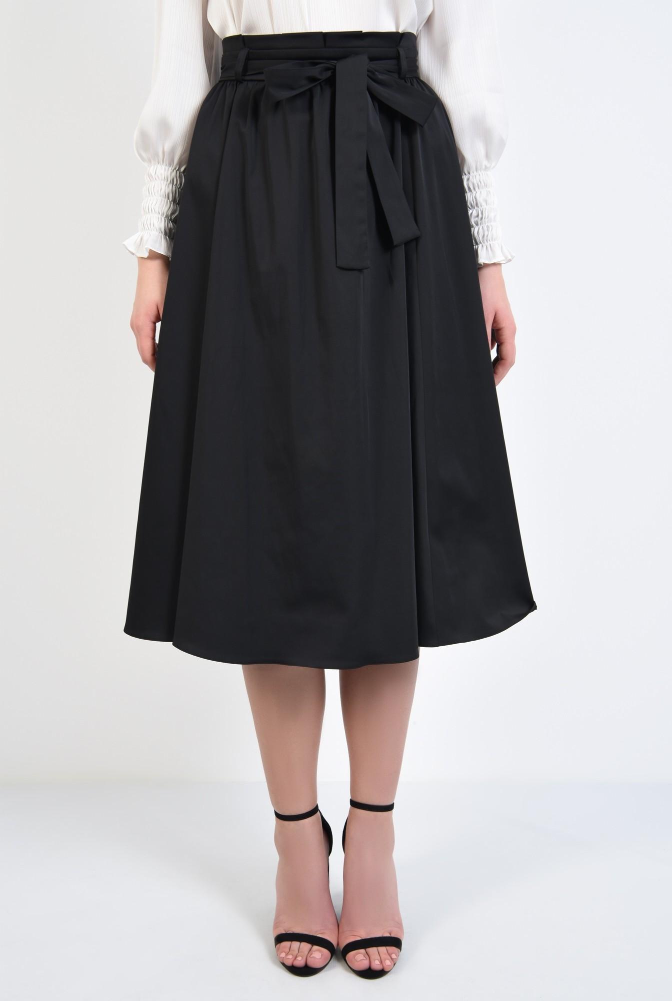 2 - 360 - fusta neagra eleganta, croi evazat, falduri, betelie plisata cu cordon