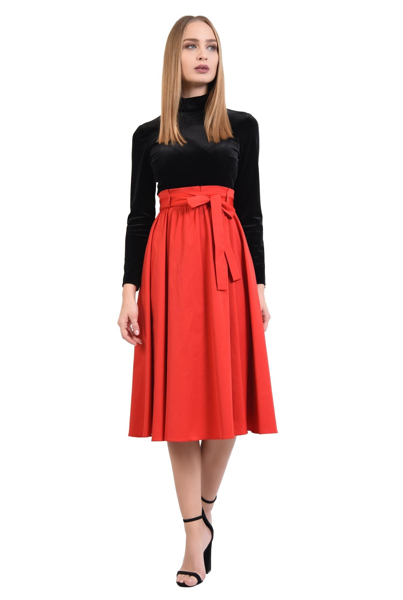 3 - 360 - fusta clos eleganta, rosu, funda, falduri, croi evazat