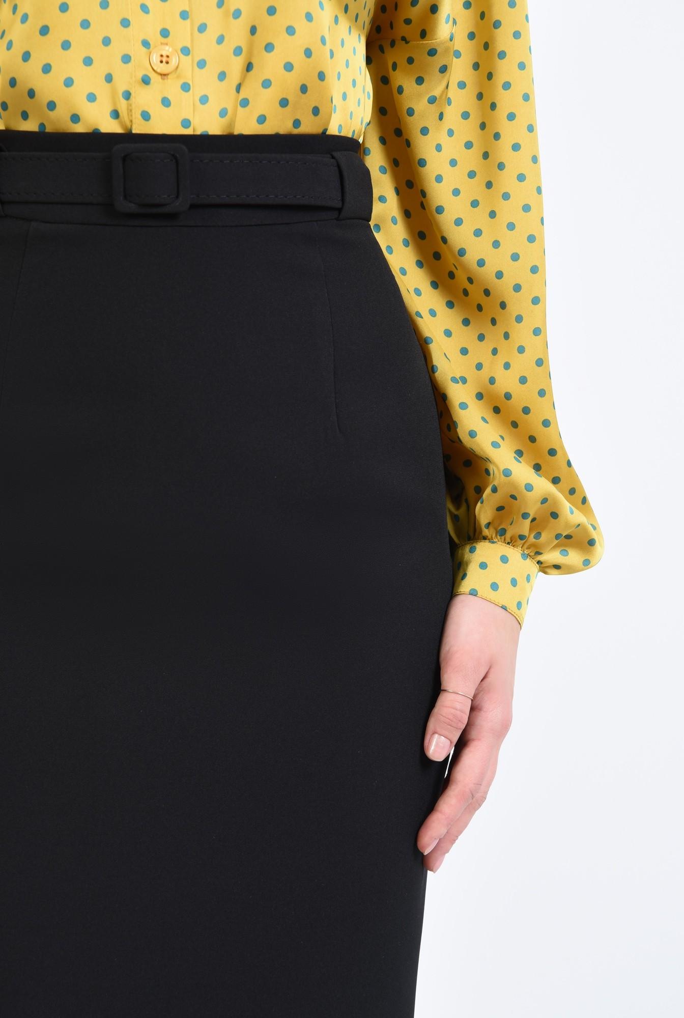 2 - fusta de zi, neagra, tigareta, cu centura, midi, basic, fusta casual