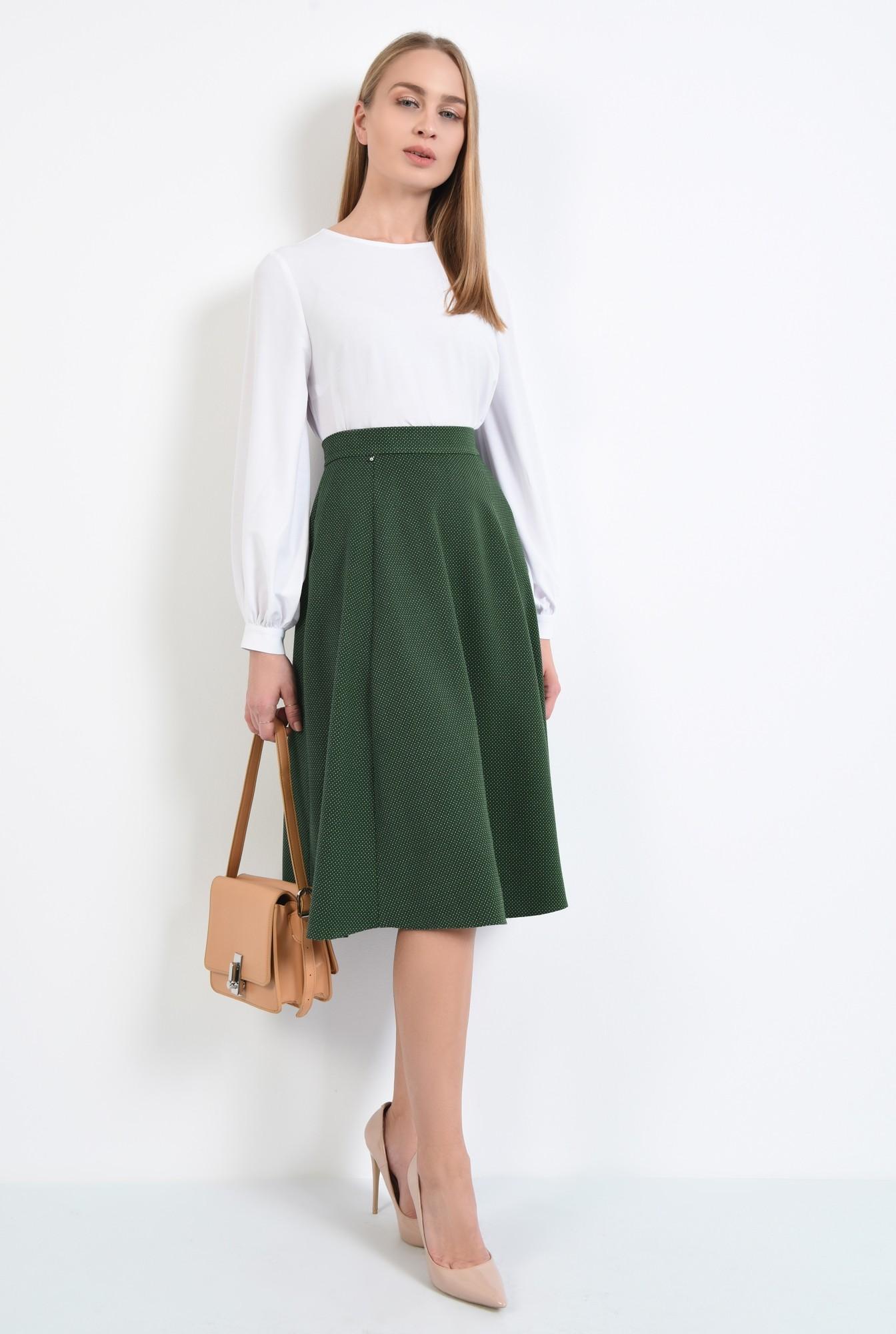 3 - fusta de zi, evazata, verde, cu picouri albe, cu talie inalta