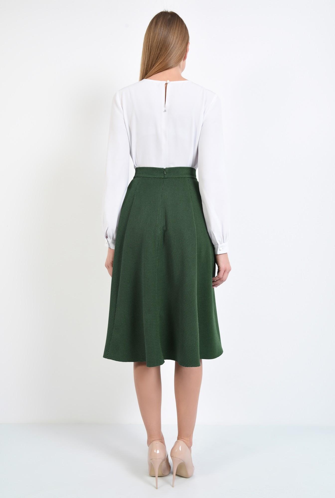 1 - fusta de zi, evazata, verde, cu picouri albe, cu talie inalta