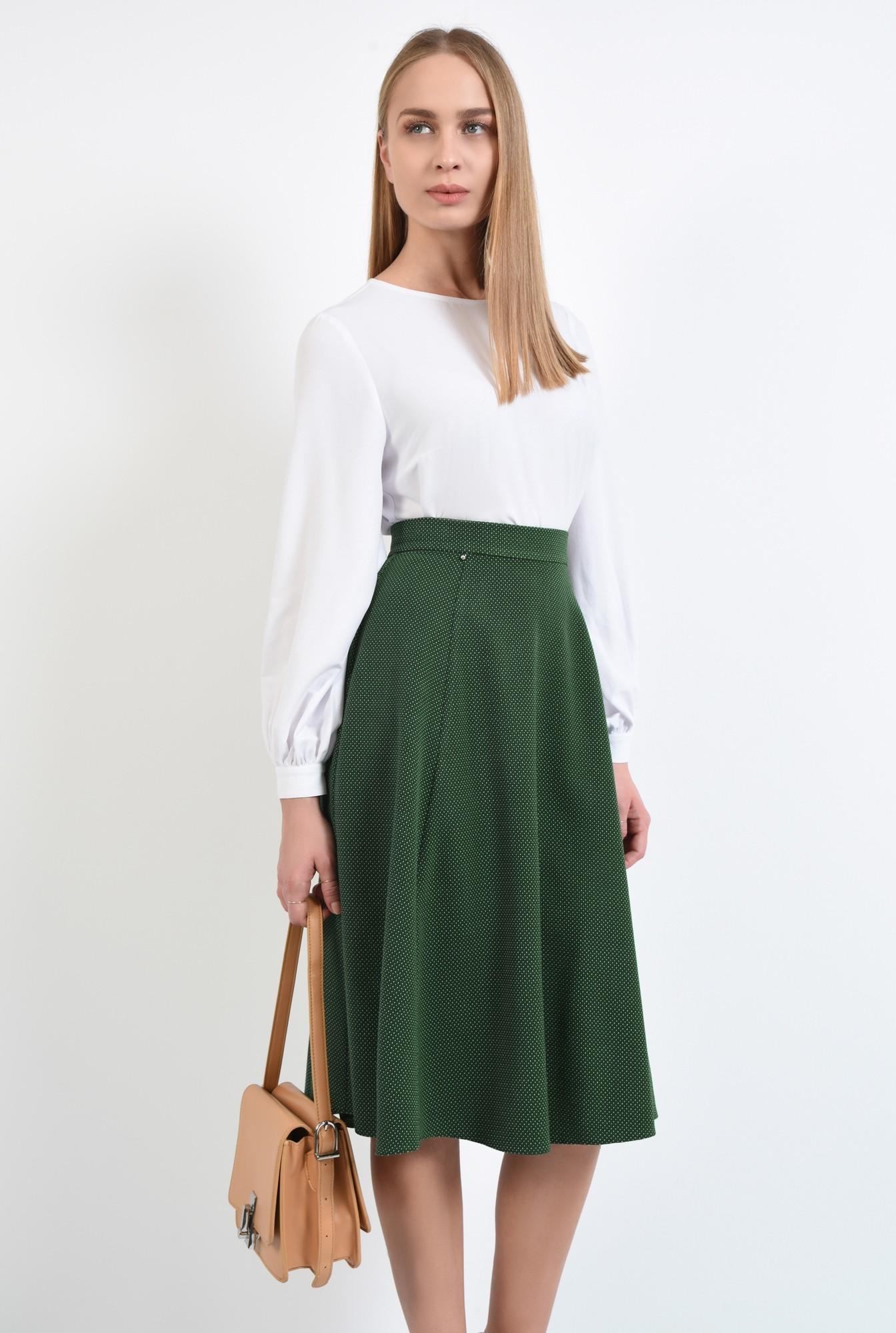 2 - fusta de zi, evazata, verde, cu picouri albe, cu talie inalta