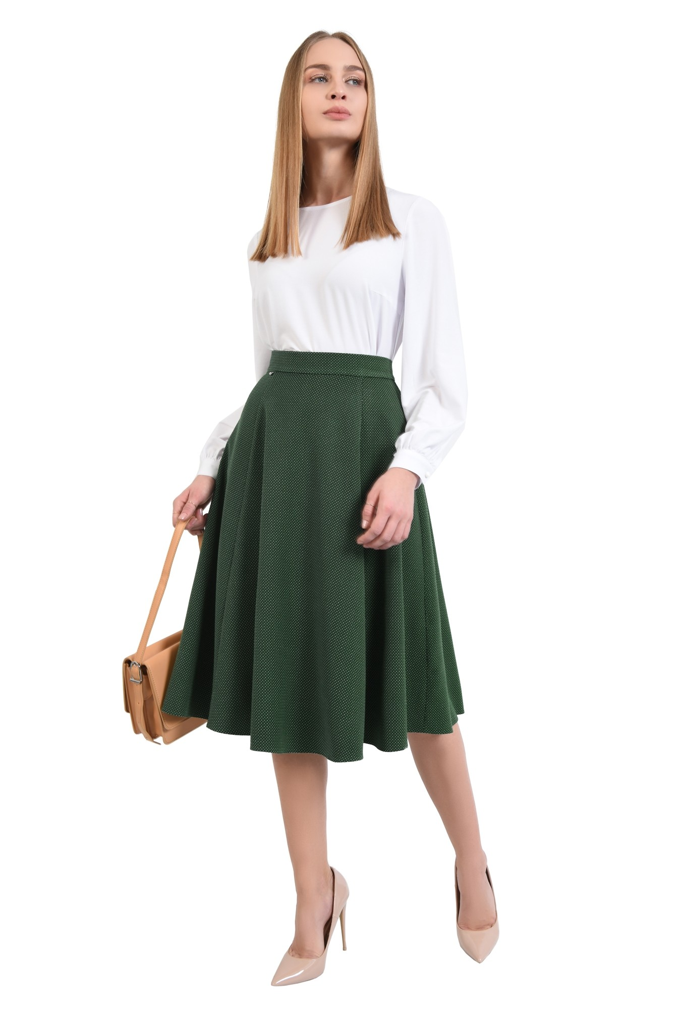 0 - fusta de zi, evazata, verde, cu picouri albe, cu talie inalta